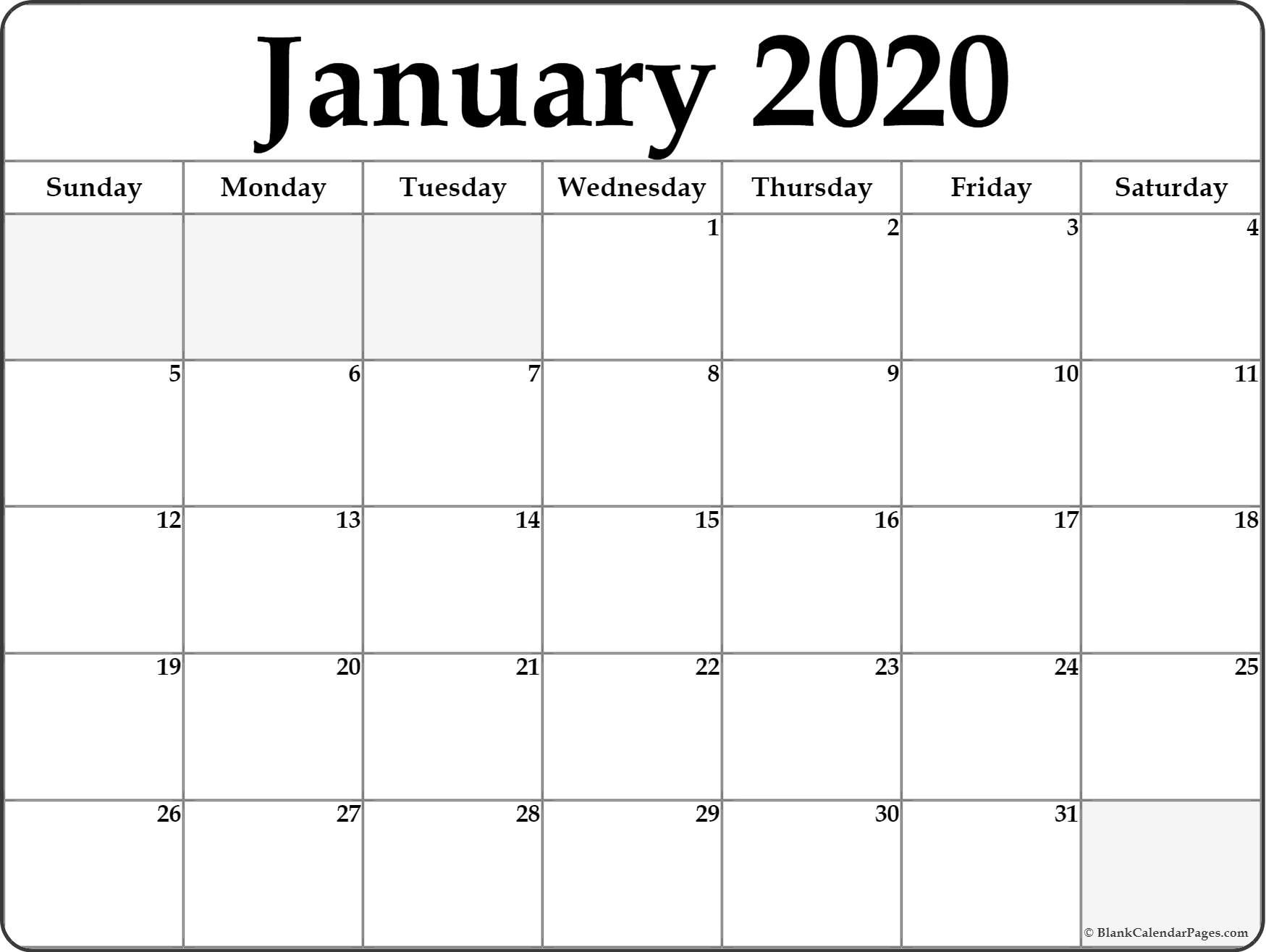 January 2020 Calendar | Free Printable Monthly Calendars-Blank 2 Pages Calendar 2020