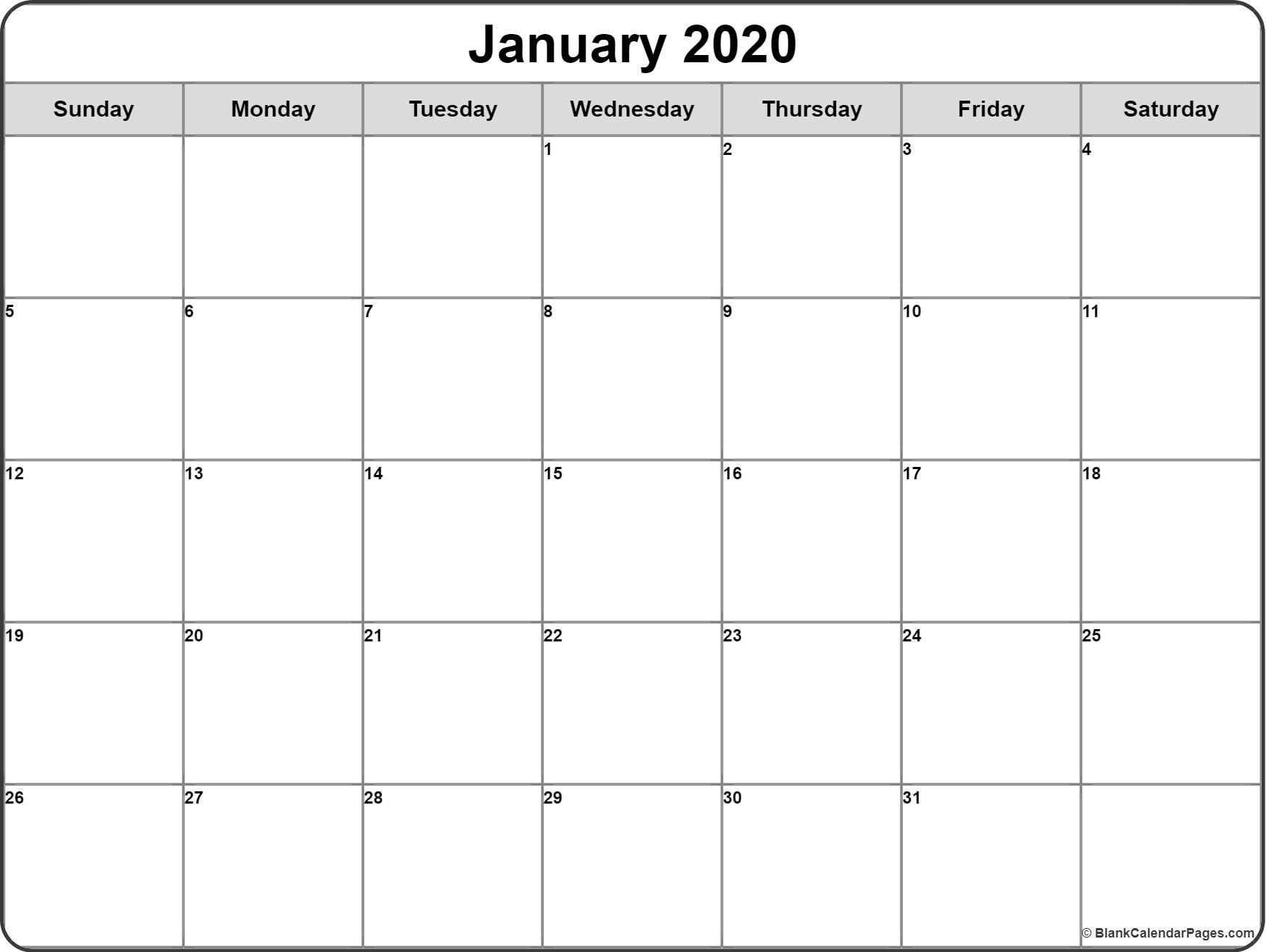January 2020 Calendar | Free Printable Monthly Calendars-Editable Printable Calendar 2020 Monthly Sunday Start