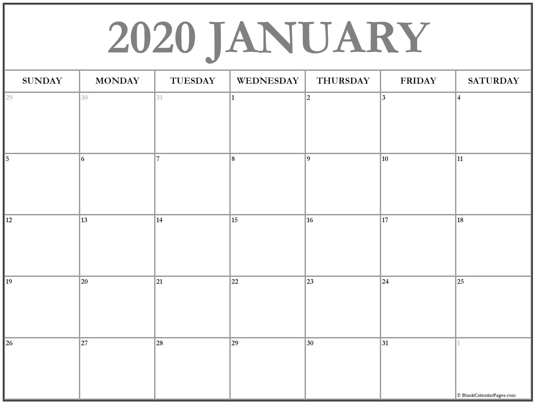 January 2020 Calendar | Free Printable Monthly Calendars-January 2020 Calendar Free Printable