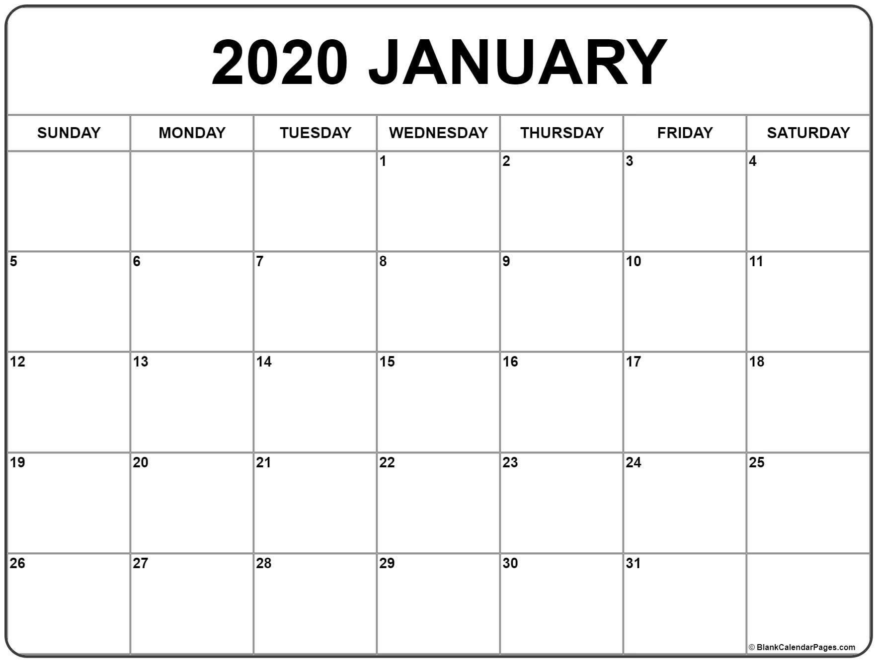 January 2020 Calendar | Free Printable Monthly Calendars-January 2020 Calendar Template