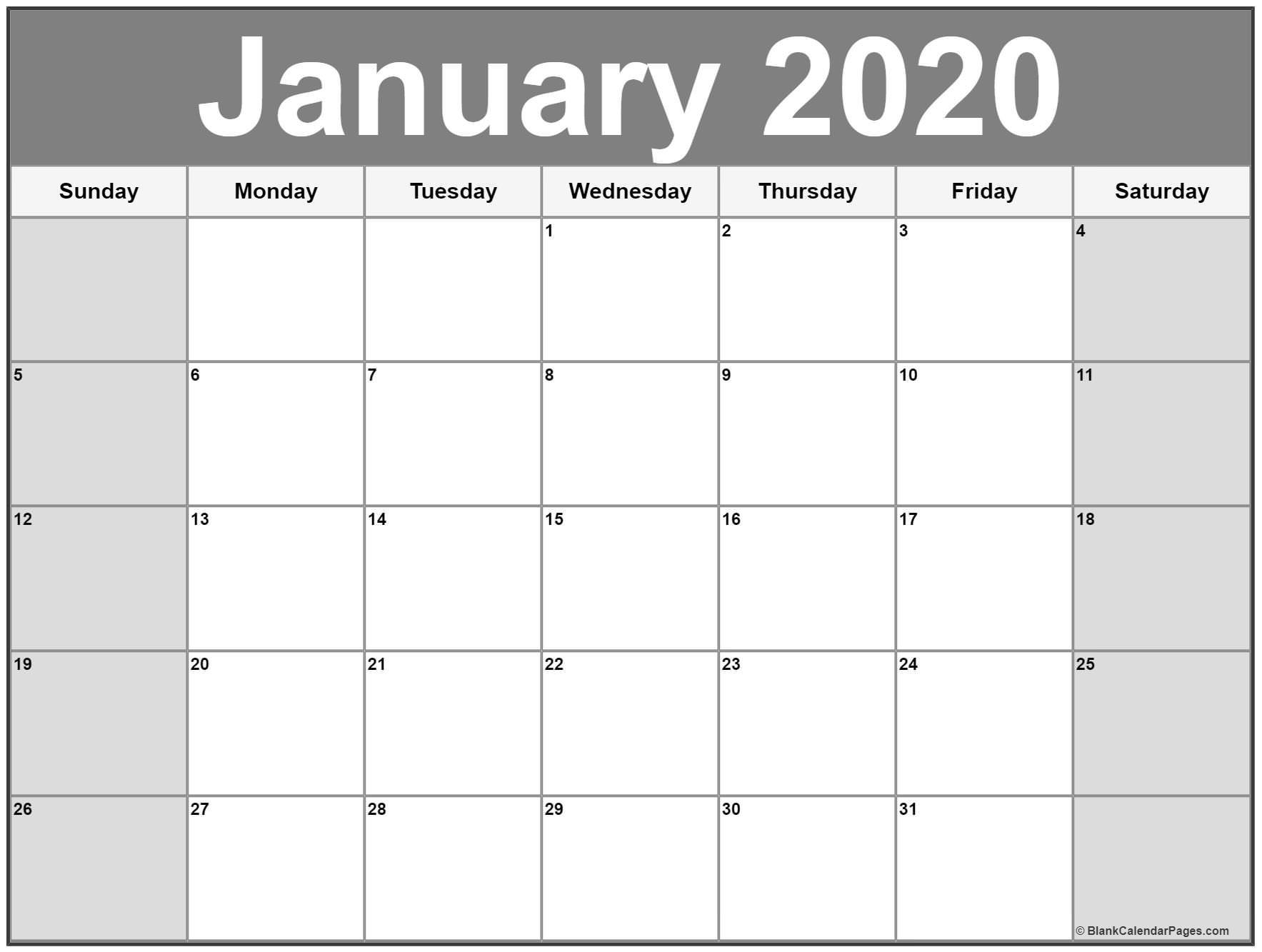 January 2020 Calendar | Free Printable Monthly Calendars-January 2020 Daily Calendar