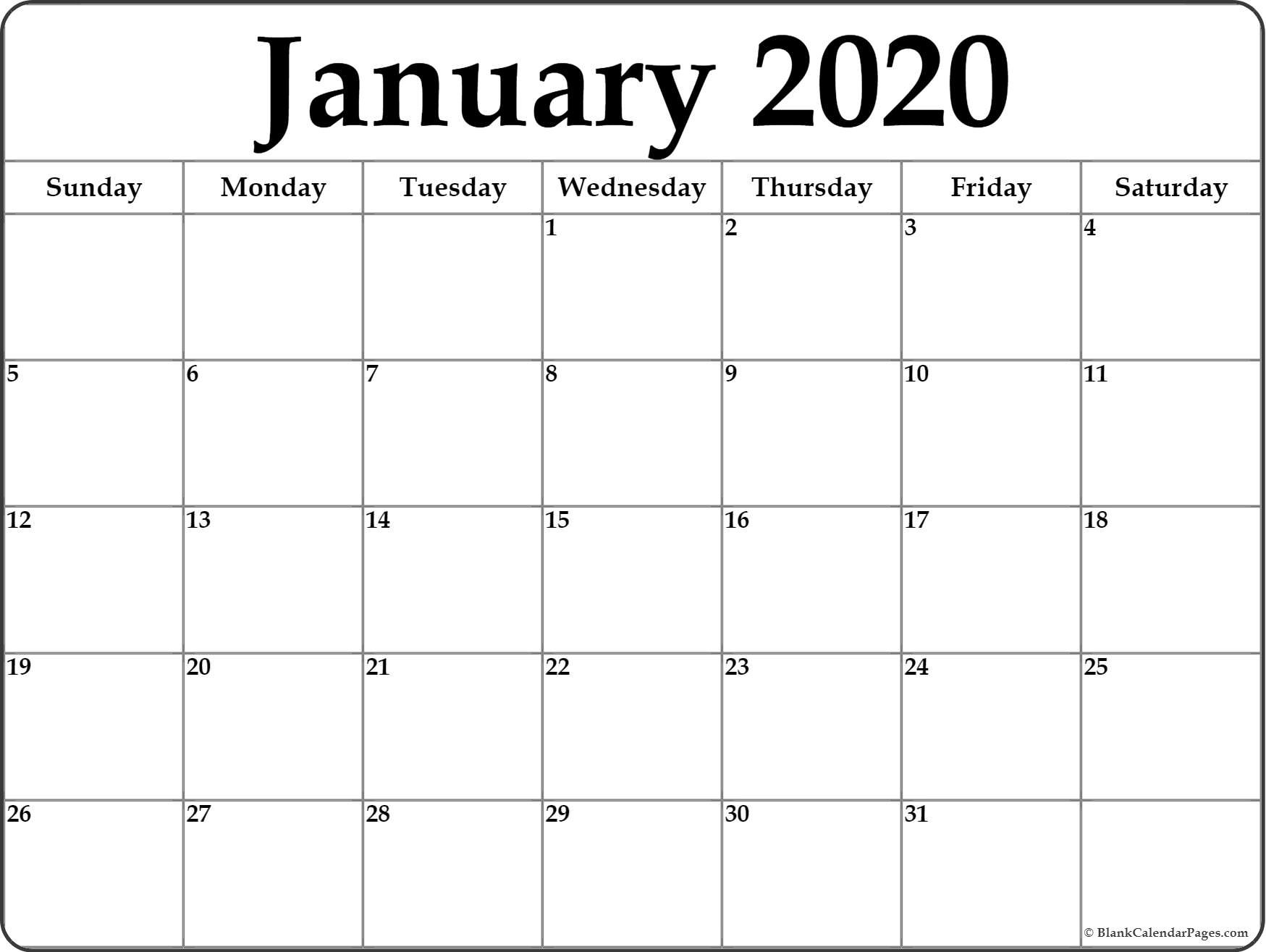January 2020 Calendar | Free Printable Monthly Calendars-Printable Blank Calendar Pages Free 2020