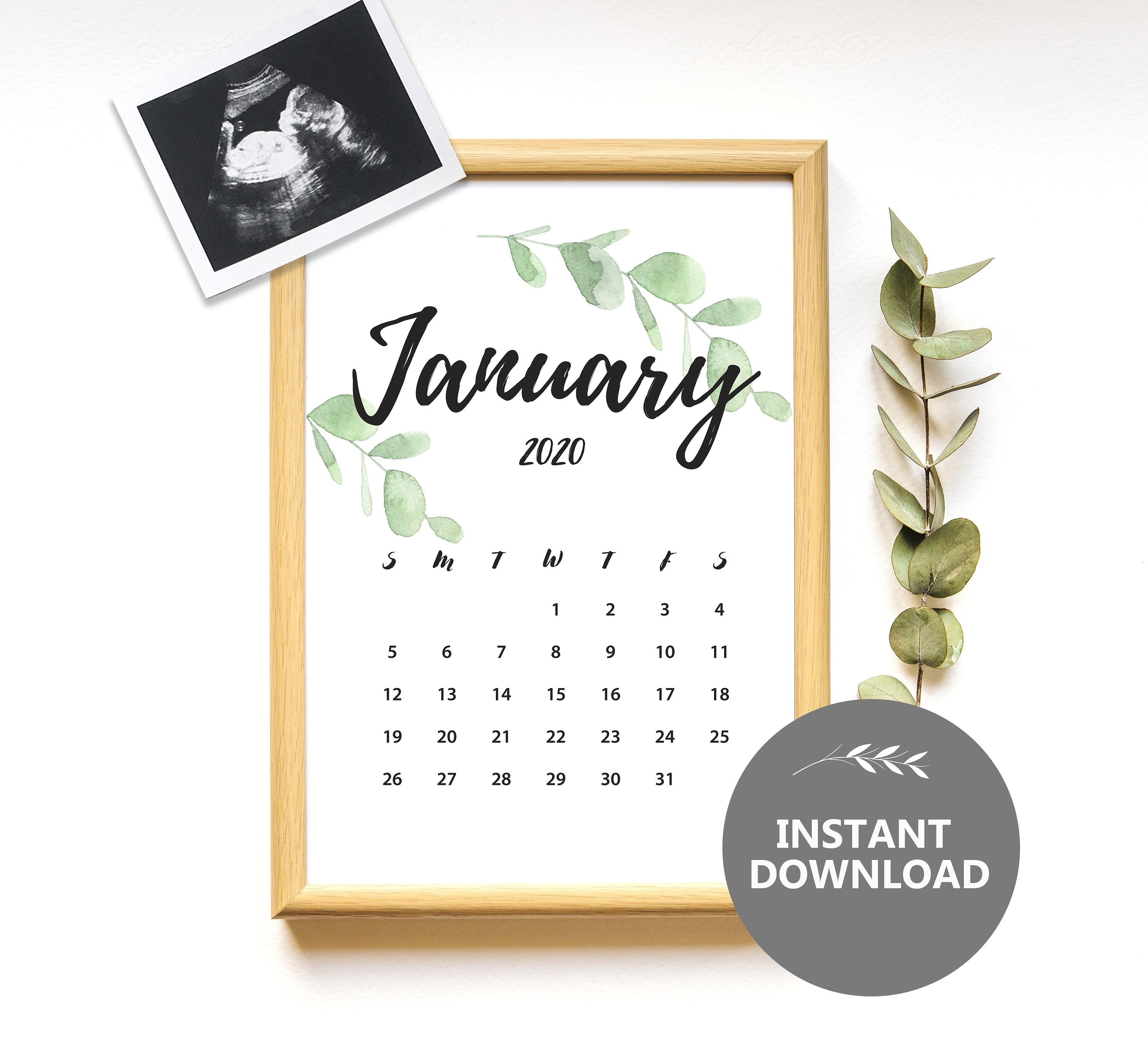 January 2020 Calendar, Instant Download, Pregnancy Announcement, Monthly  Calendar Planner, Baby Due Date Printable Calendar-January 2020 Style 3 Calendar