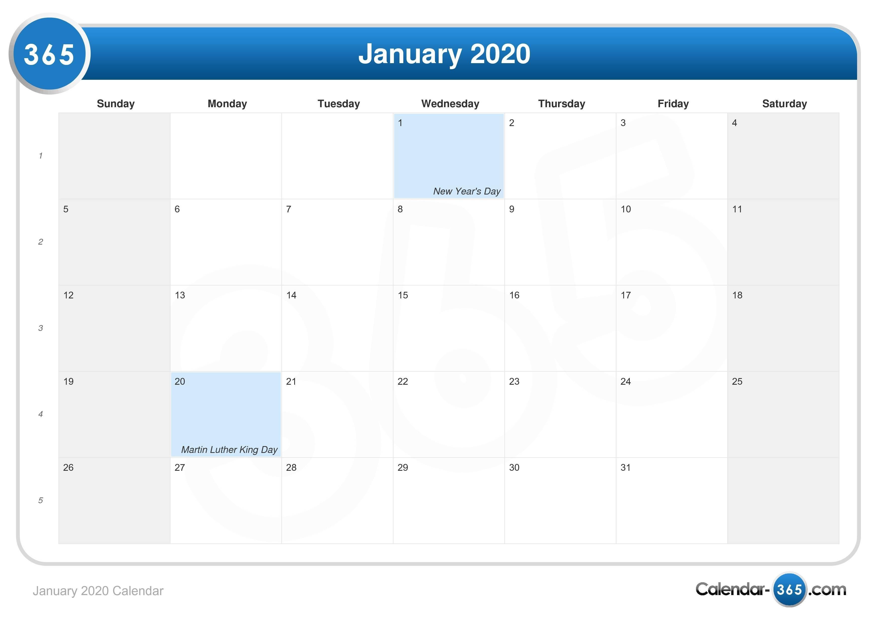 January 2020 Calendar-January 2020 Calendar Of Events