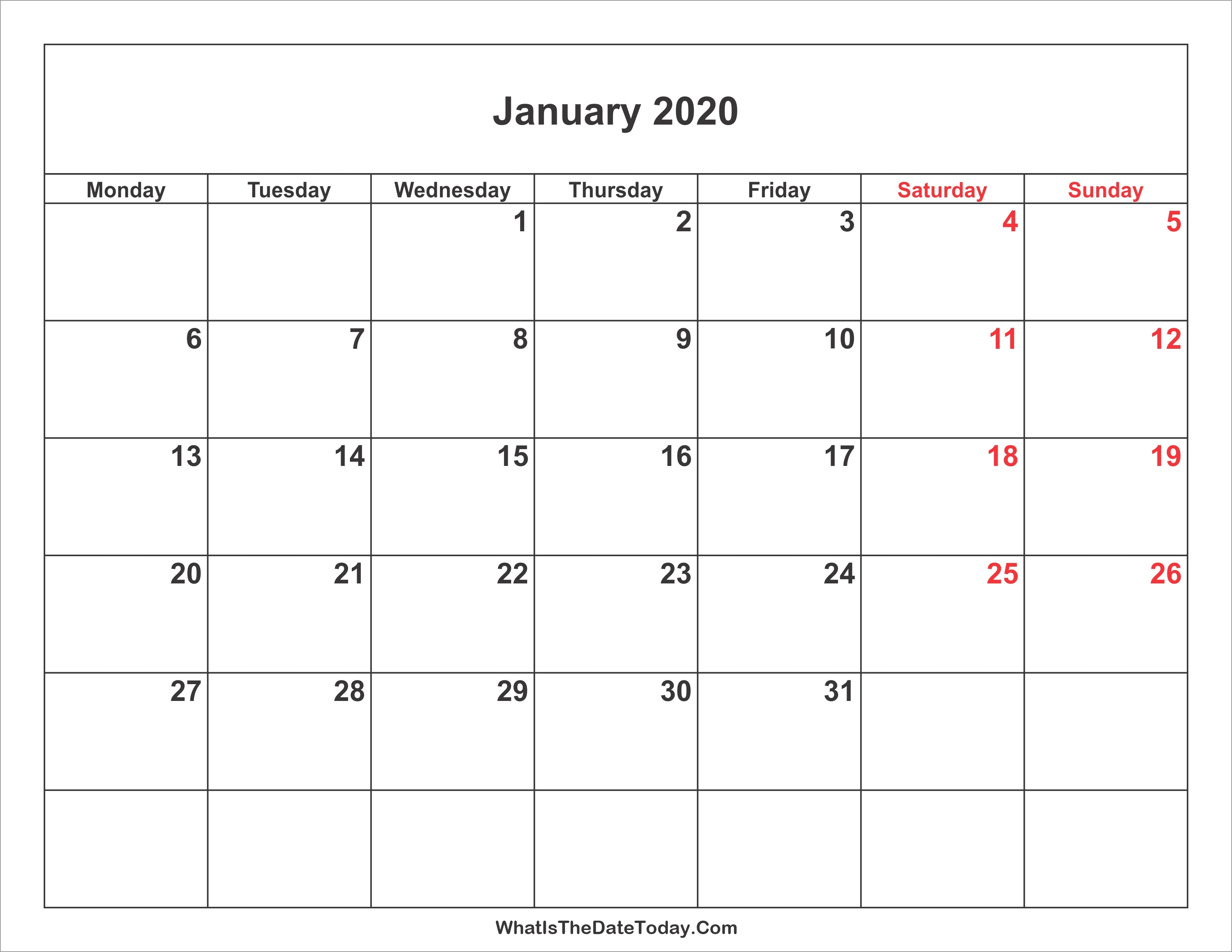 January 2020 Calendar | Jcreview-Large January 2020 Calendar