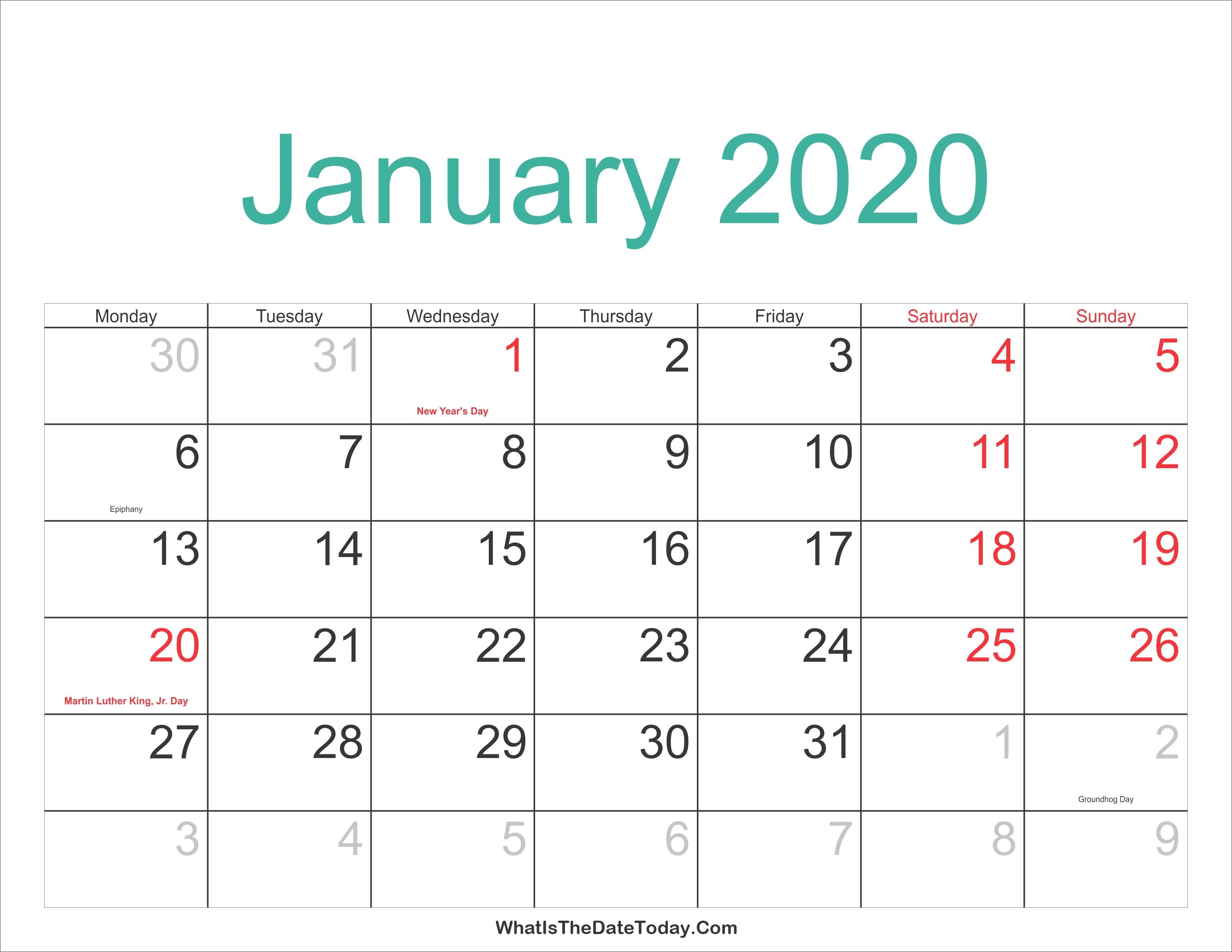 January 2020 Calendar Printable Holidays Full | Jcreview-January 2020 Calendar Holidays