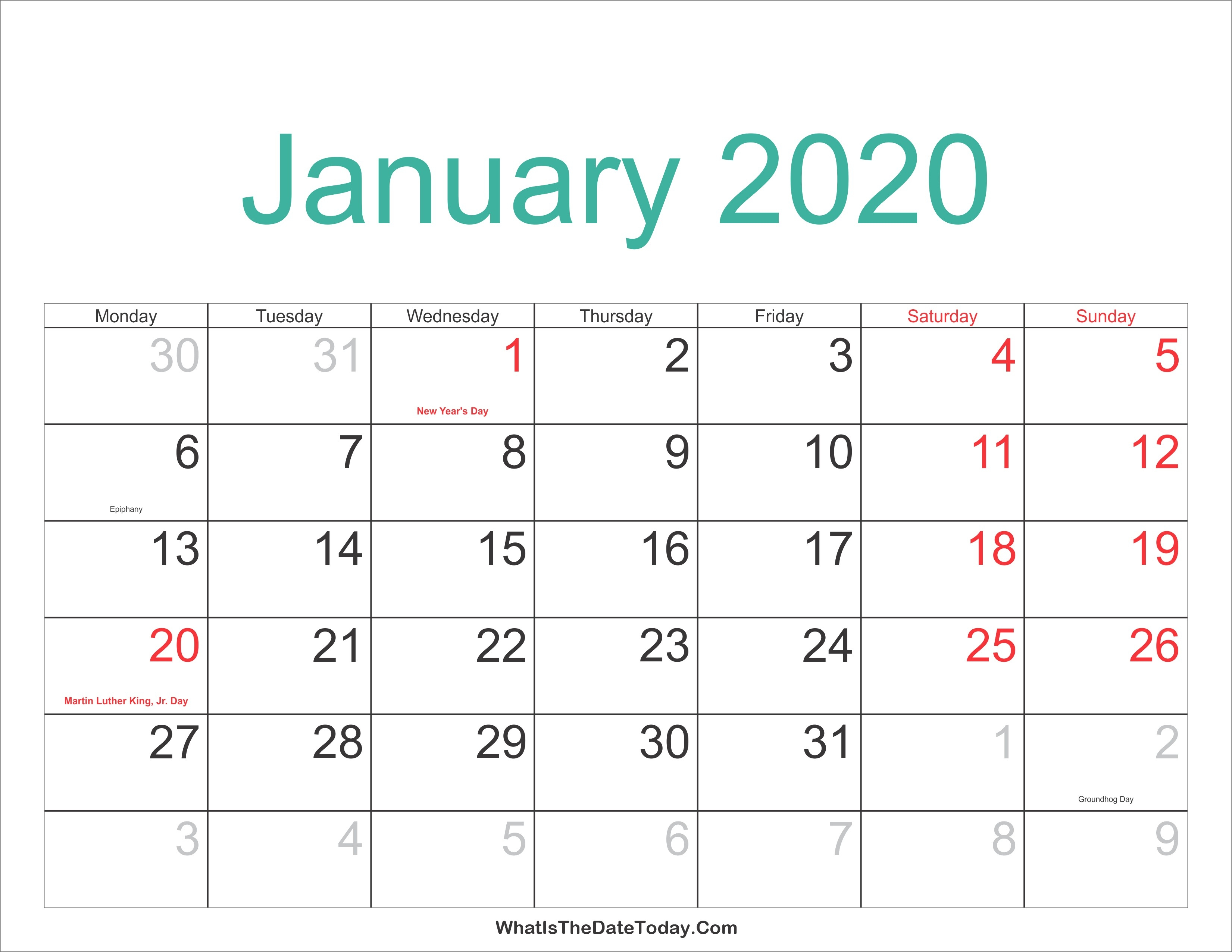 January 2020 Calendar Printable Holidays Full | Jcreview-January 2020 Lunar Calendar