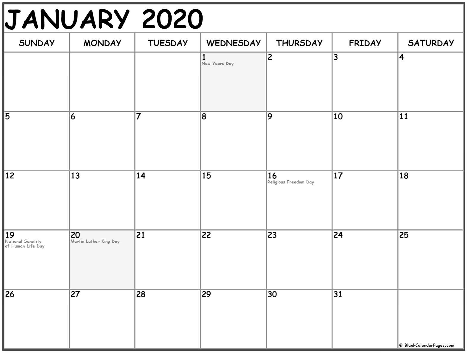 January 2020 Calendar Printable Templates Holidays - July-January 2020 Calendar With Holidays