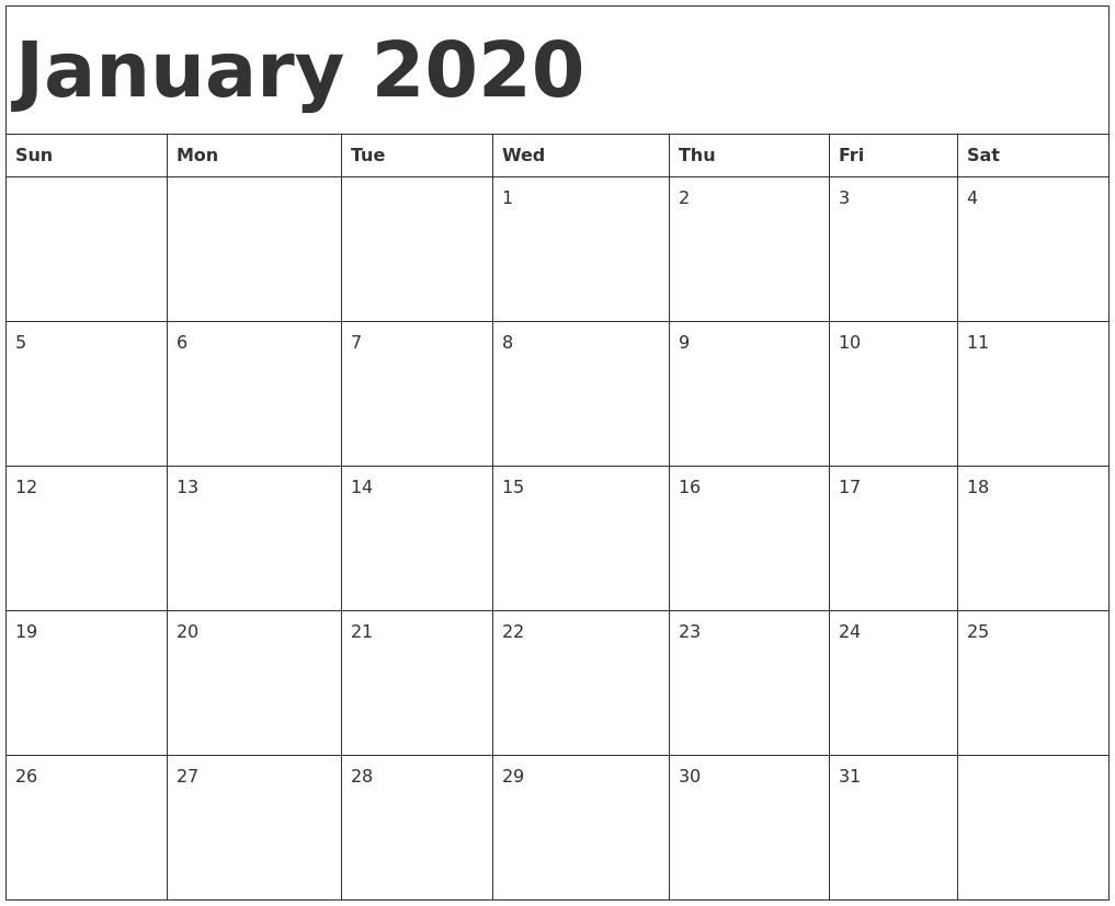 January 2020 Calendar Template-January 2020 Calendar Doc