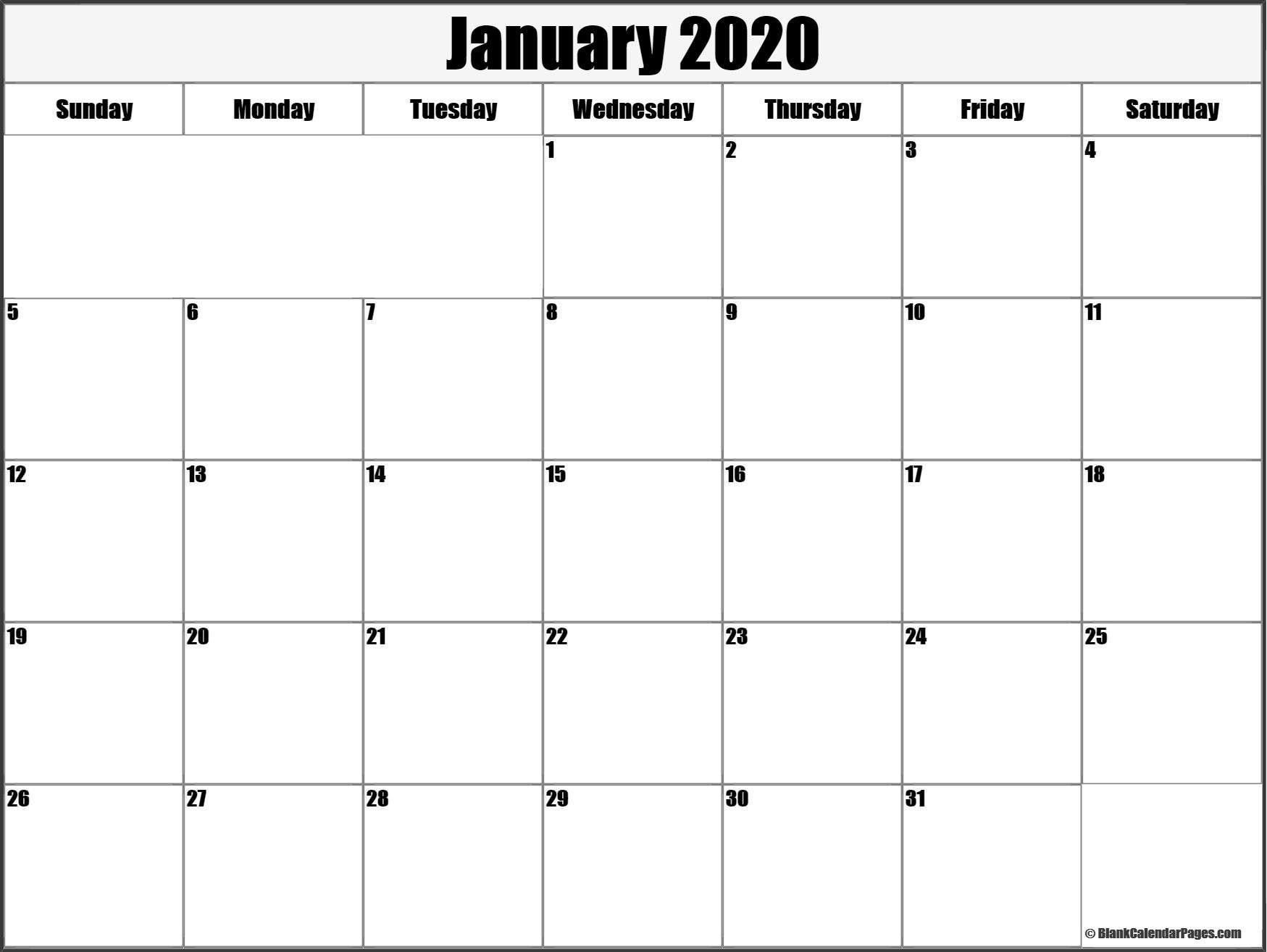 January 2020 Calendar Template #january #january2020-January 2020 Fillable Calendar