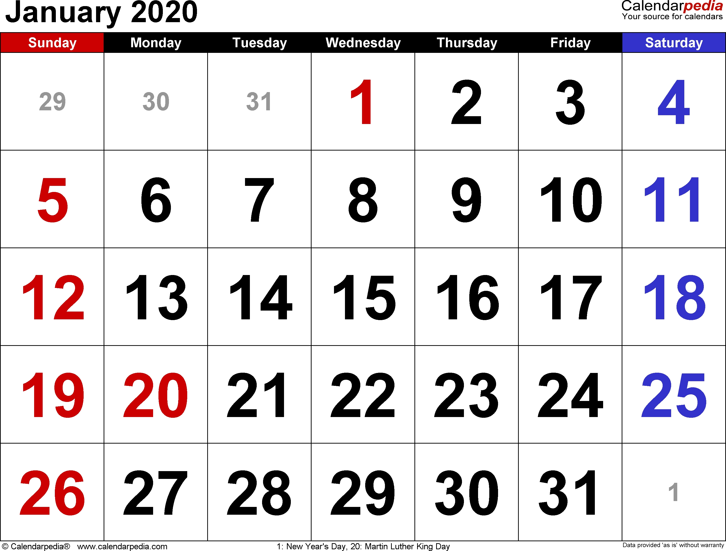 January 2020 Calendars For Word, Excel & Pdf-January 2020 Calendar Month