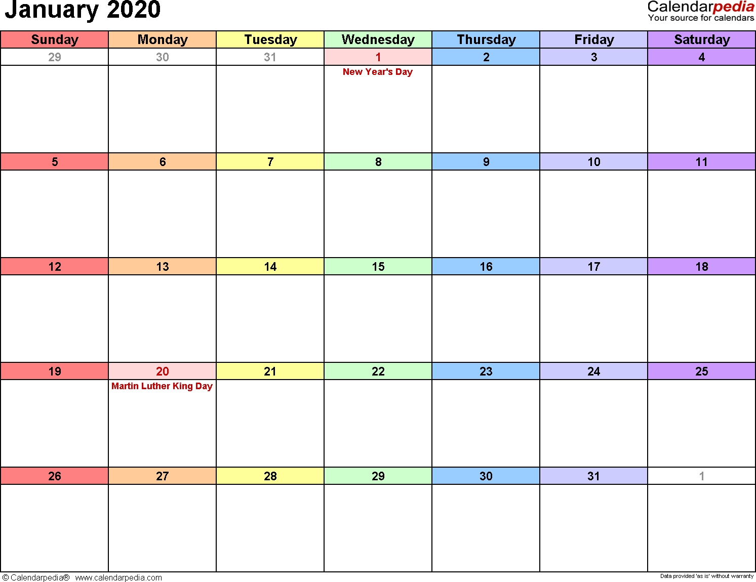 January 2020 Calendars For Word, Excel & Pdf-January 2020 Day Calendar