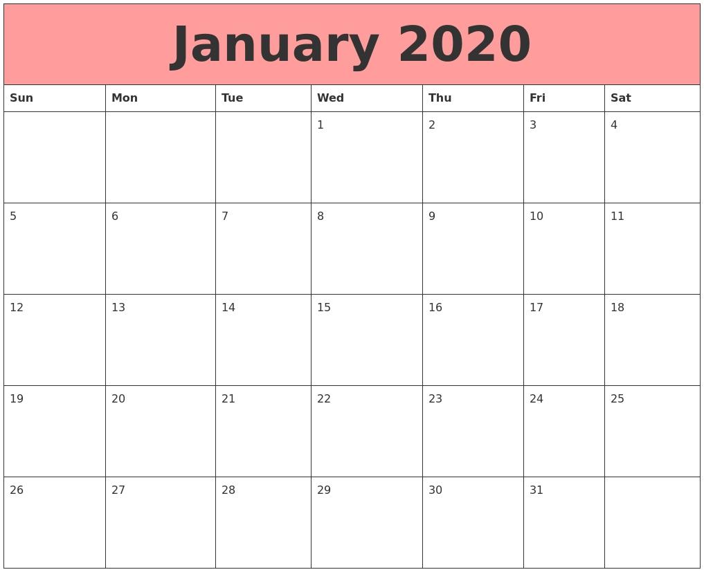 January 2020 Calendars That Work-Fillable January 2020 Calendar