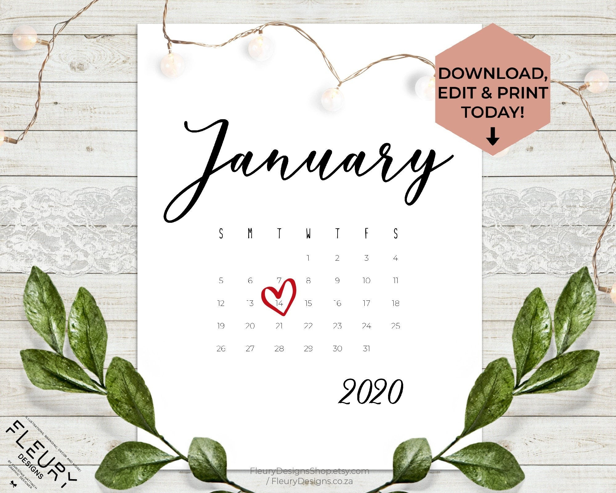 January 2020 Custom Editable Pregnancy Announcement Calendar - Social Media  Baby Announcement - Baby Due Date Printable Calendar - Due Date-January 2020 Calendar Baby Announcement
