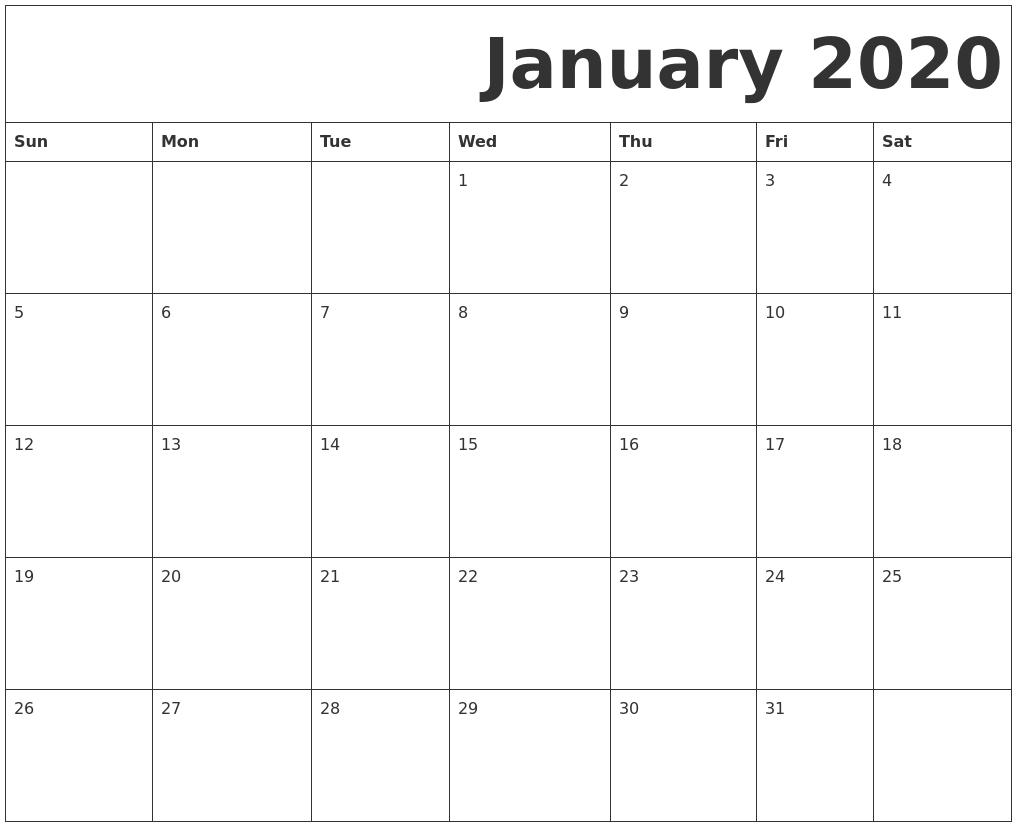 January 2020 Free Printable Calendar-Free Printable January 2020 Calendar