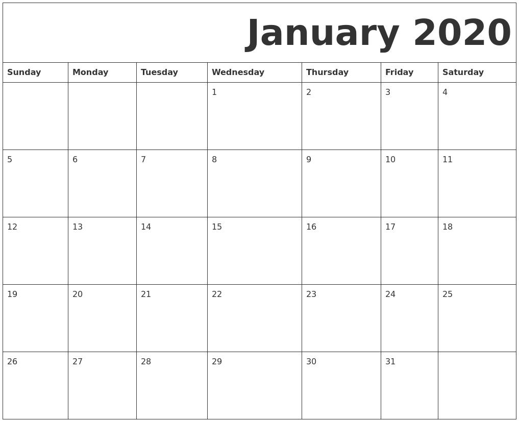 January 2020 Free Printable Calendar-January 2020 Day Calendar