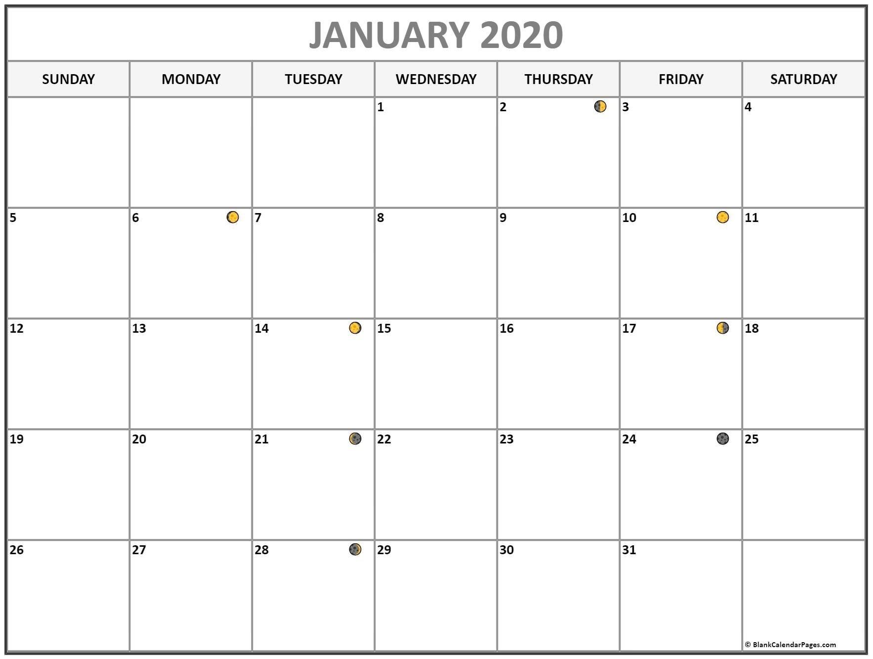 January 2020 Lunar Calendar | Moon Phase Calendar In Well-January 2020 Calendar With Moon Phases