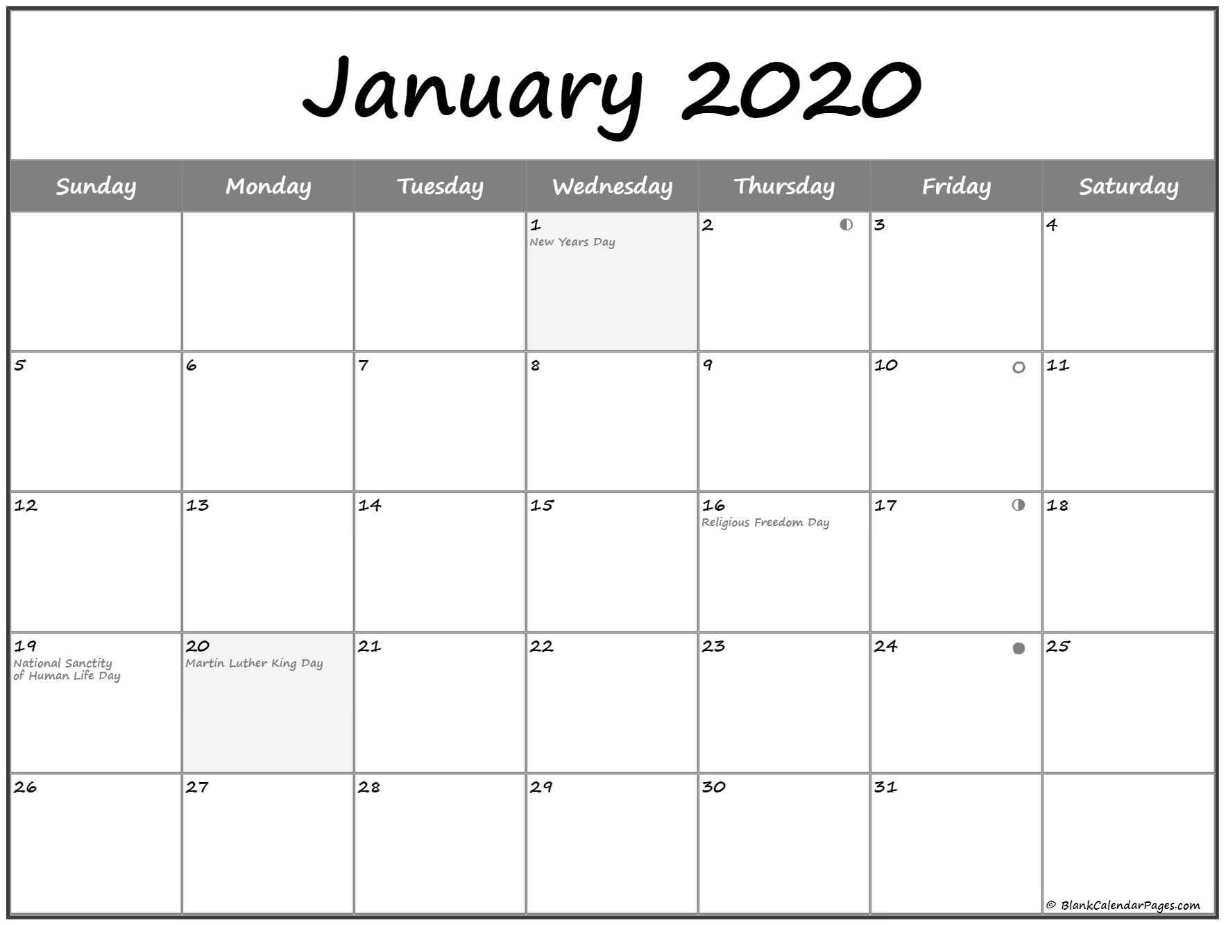 January 2020 Lunar Calendar | Moon Phase Calendar-January 2020 Calendar Full Moon