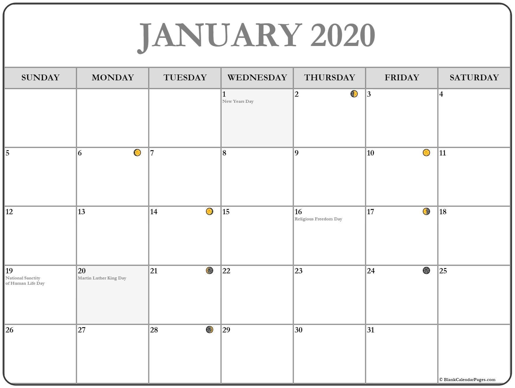January 2020 Lunar Calendar | Moon Phase Calendar-January 2020 Calendar With Moon Phases