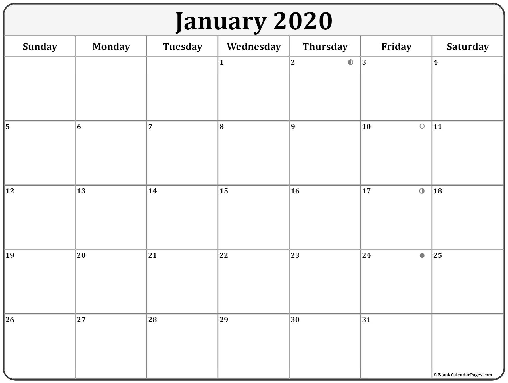 January 2020 Lunar Calendar | Moon Phase Calendar-January 2020 Lunar Calendar