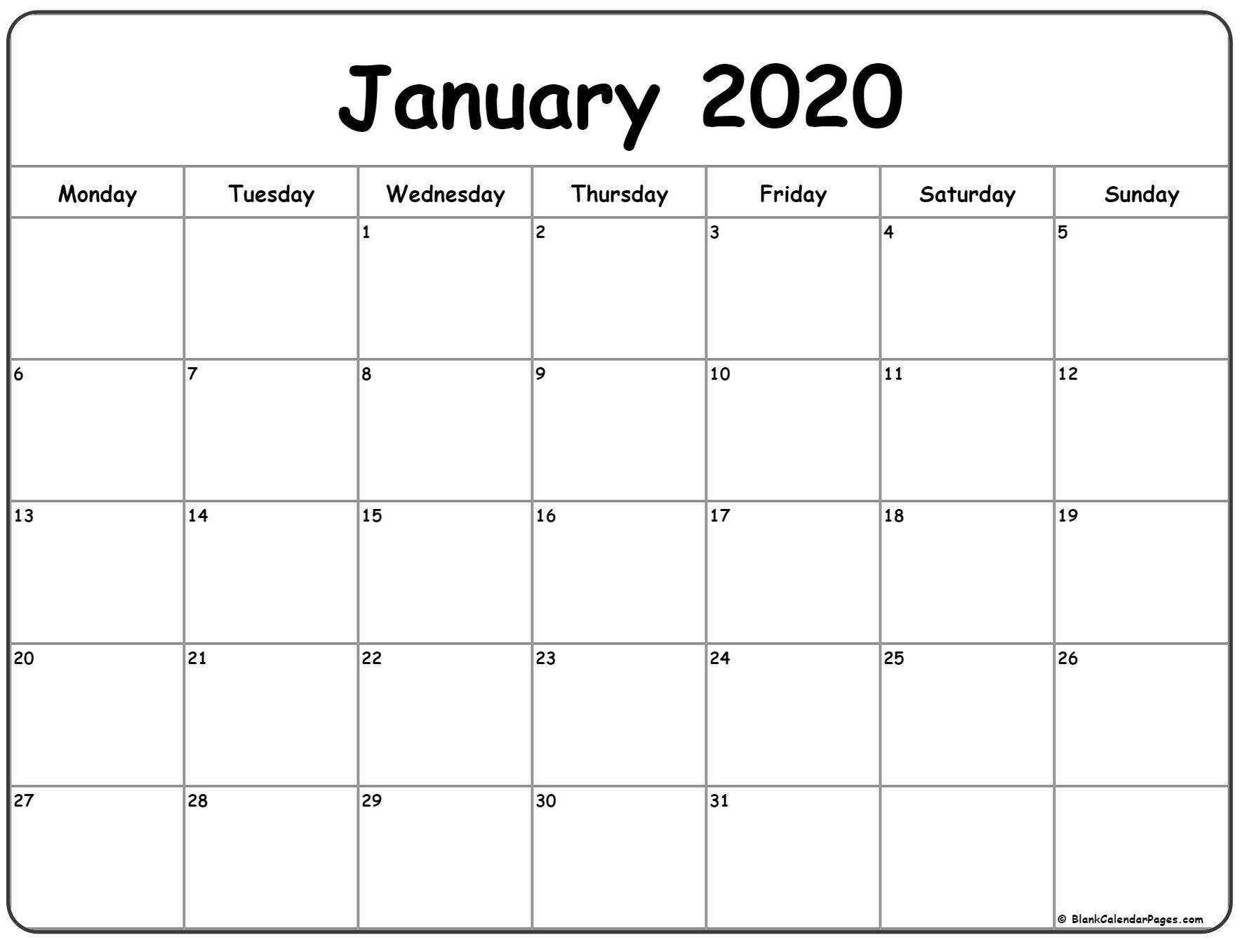 January 2020 Monday Calendar | Monday To Sunday-January 2020 Calendar Monday Start