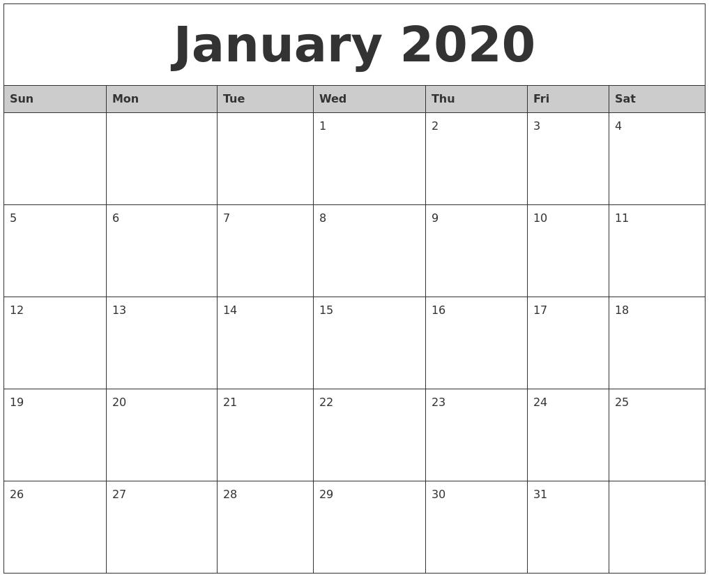 January 2020 Monthly Calendar Printable-Printable Monthly Calendar January 2020