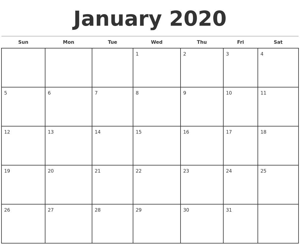January 2020 Monthly Calendar Template-Editable Printable Calendar 2020 Monthly Sunday Start