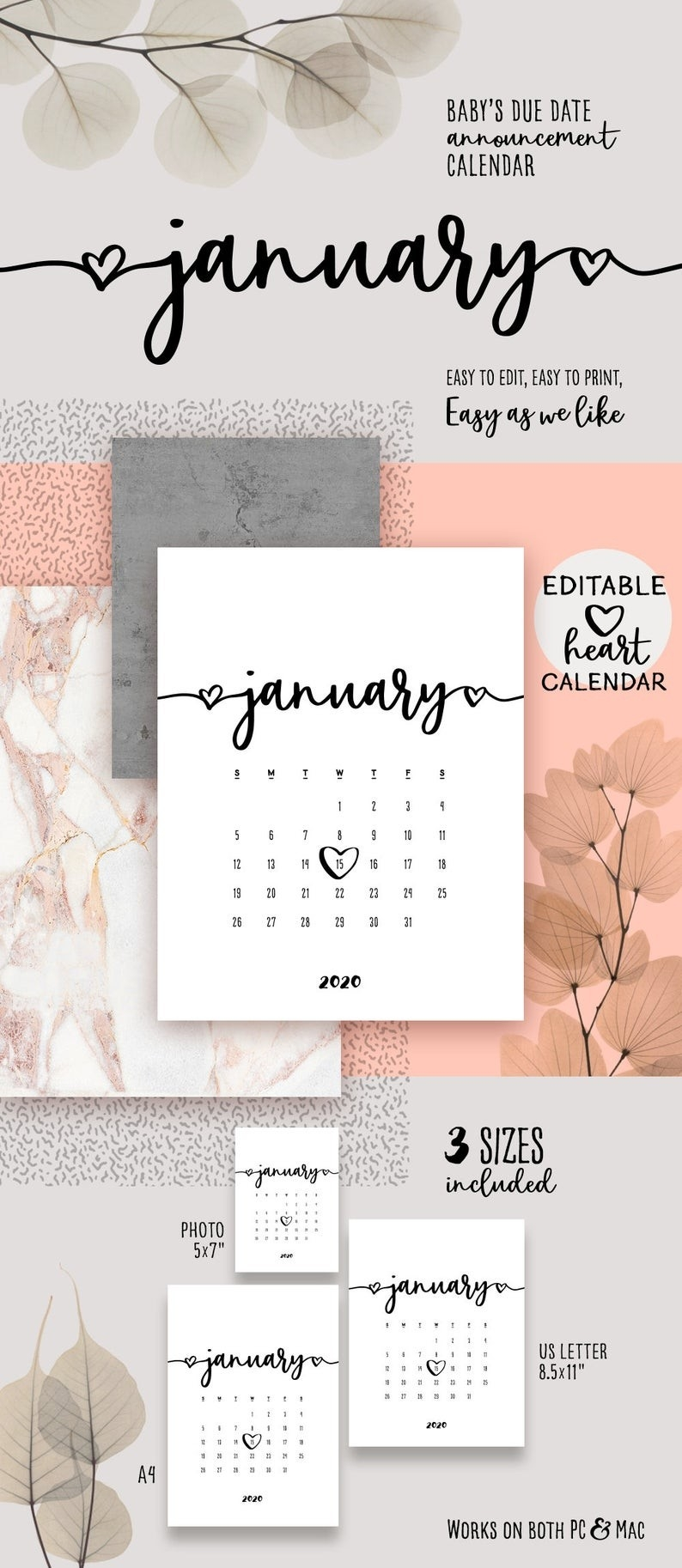 January 2020 Pregnancy Printable Calendar Lovely Baby Due Date Announcement  Calendar Pdf Reveal Baby Announce Birthday Printable Calendar-January 2020 Calendar Baby Announcement