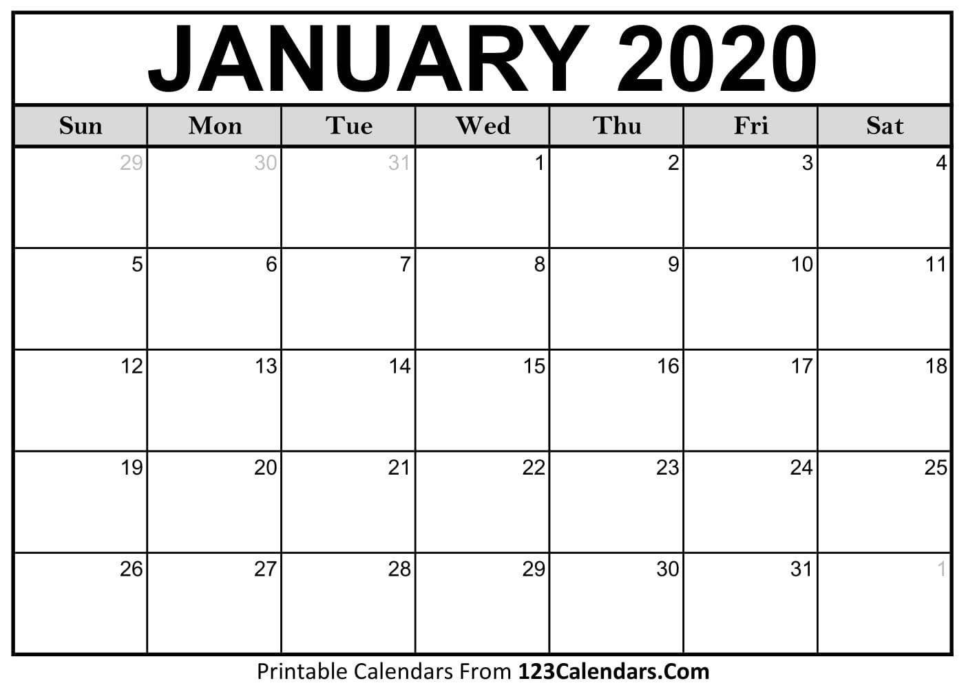 January 2020 Printable Calendar | 123Calendars-January 2020 Calendar Of Events