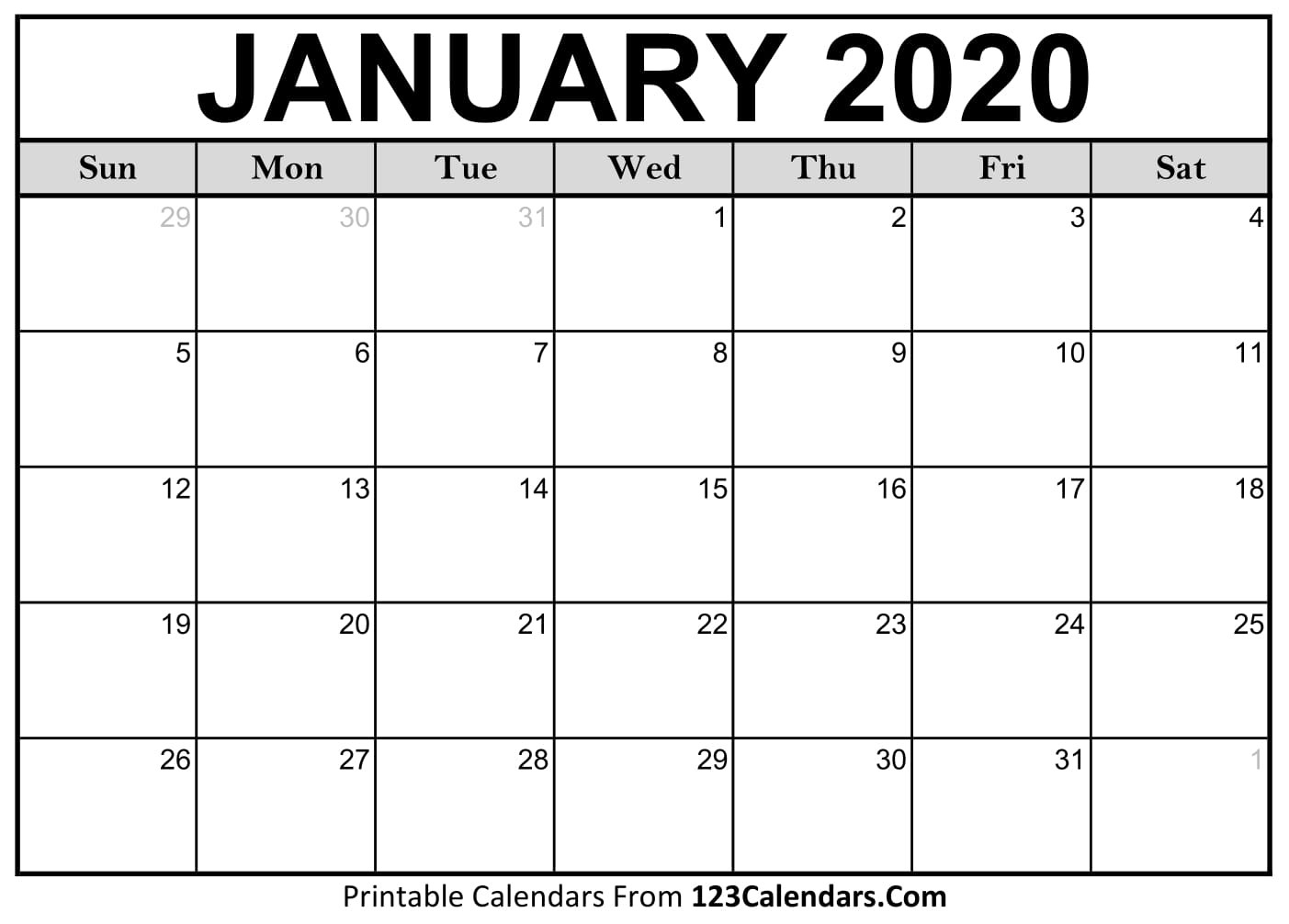 January 2020 Printable Calendar | 123Calendars-National Day Calendar January 2020