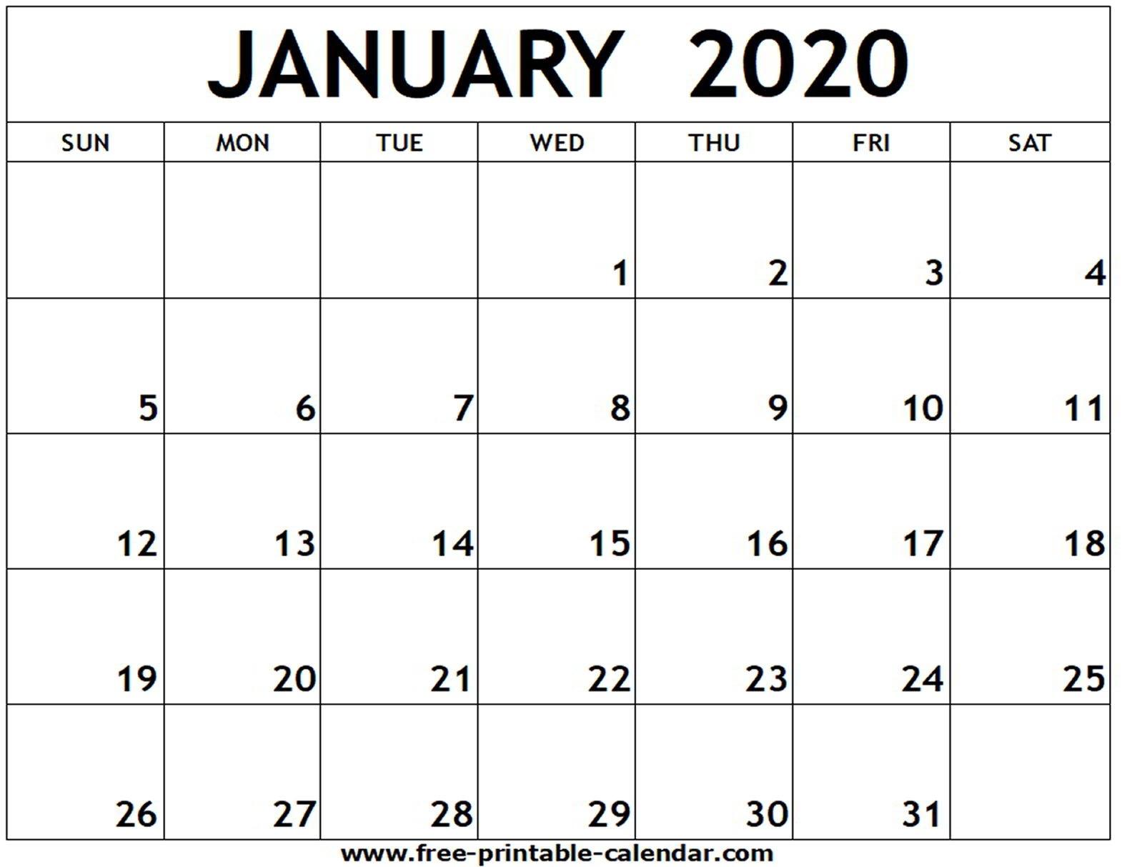 January 2020 Printable Calendar - Free-Printable-Calendar-January 2020 Calendar Canada