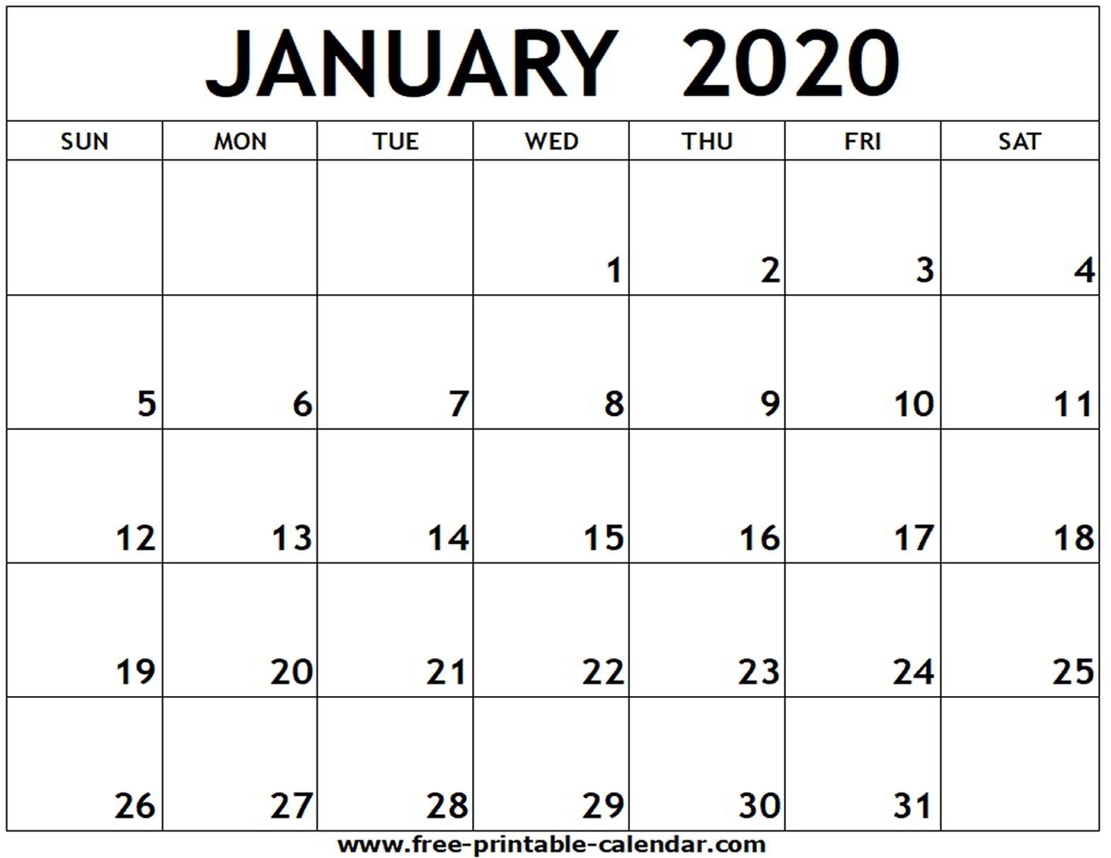 January 2020 Printable Calendar - Free-Printable-Calendar-January 2020 Us Calendar
