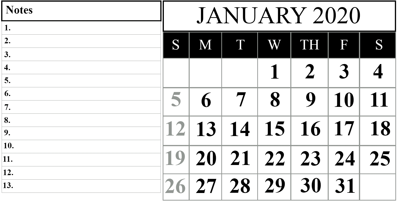 January 2020 Printable Calendar Template #2020Calendars-January 2020 Vertical Calendar