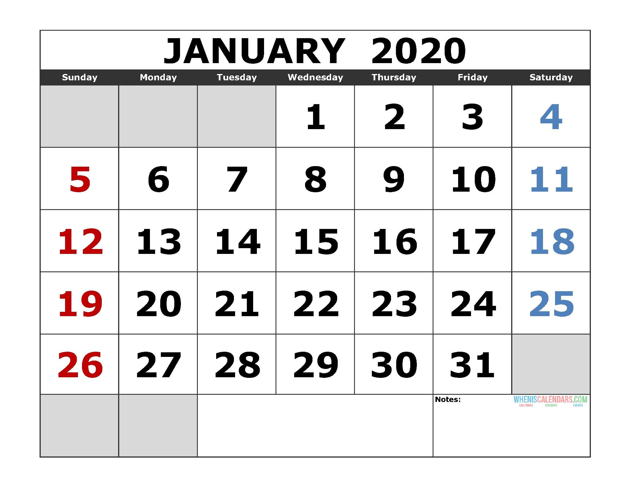 January 2020 Printable Calendar Template Excel, Pdf, Image-January 2020 Calendar In Excel