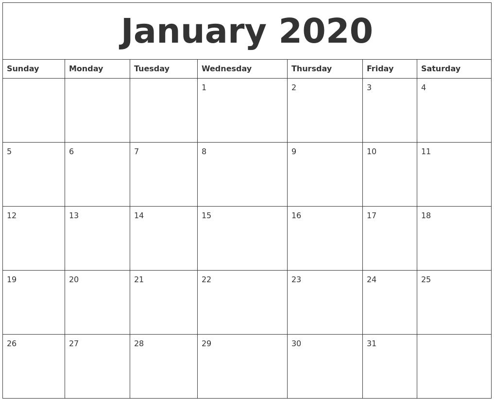 January 2020 Word Calendar-January 2020 Day Calendar