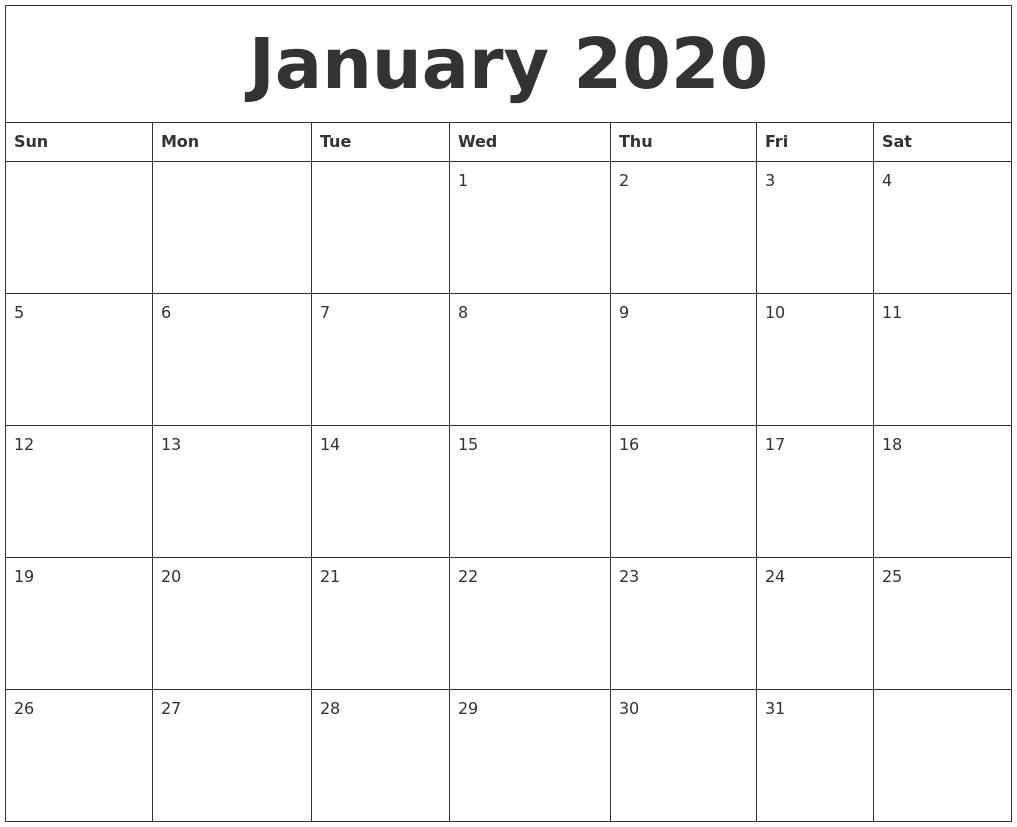 January 2020 Word Calendar-Printable January 2020 Calendar Word