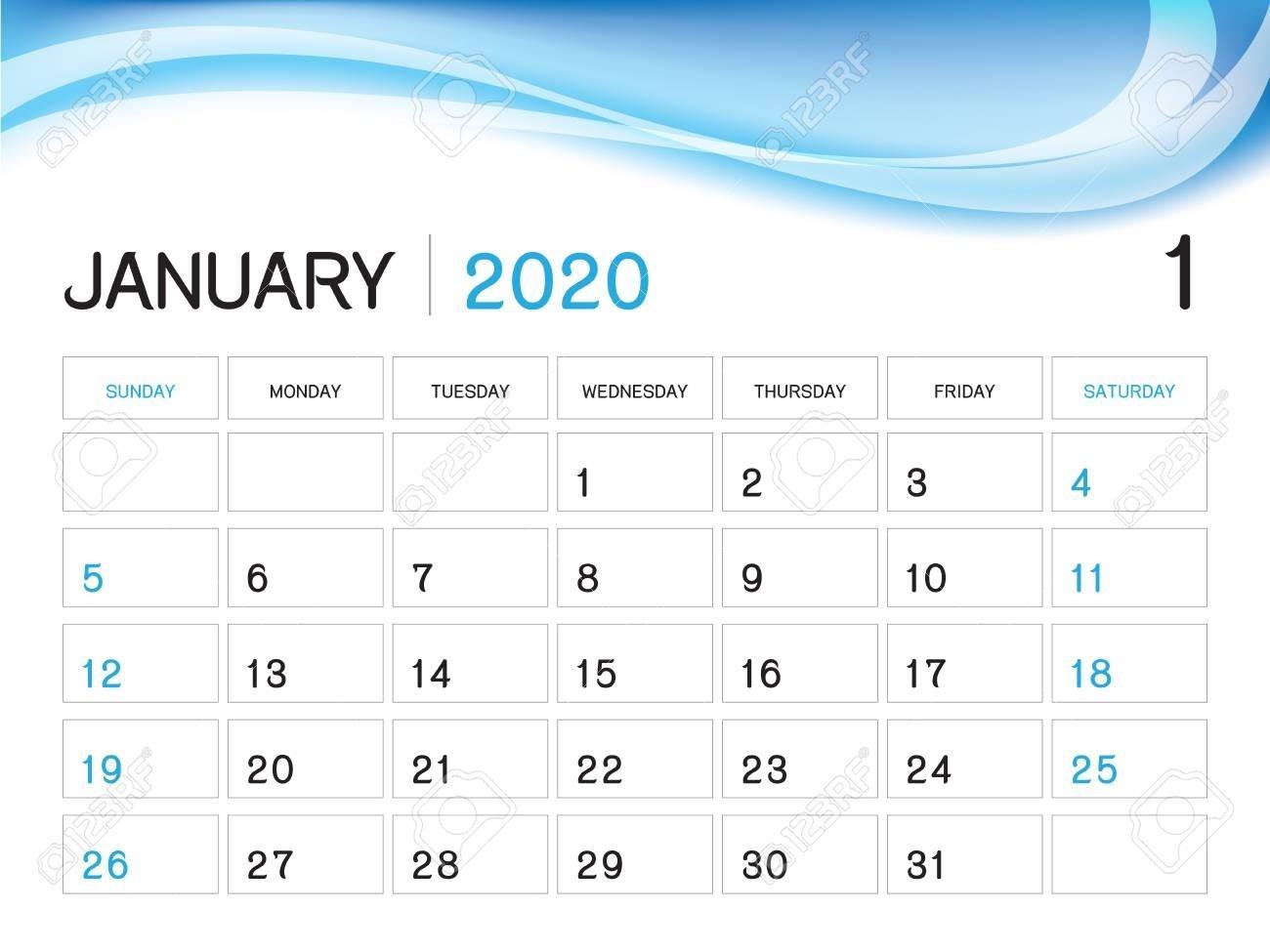 January 2020 Year Template, Calendar 2020 Vector, Desk Calendar..-January 2020 Yearly Calendar