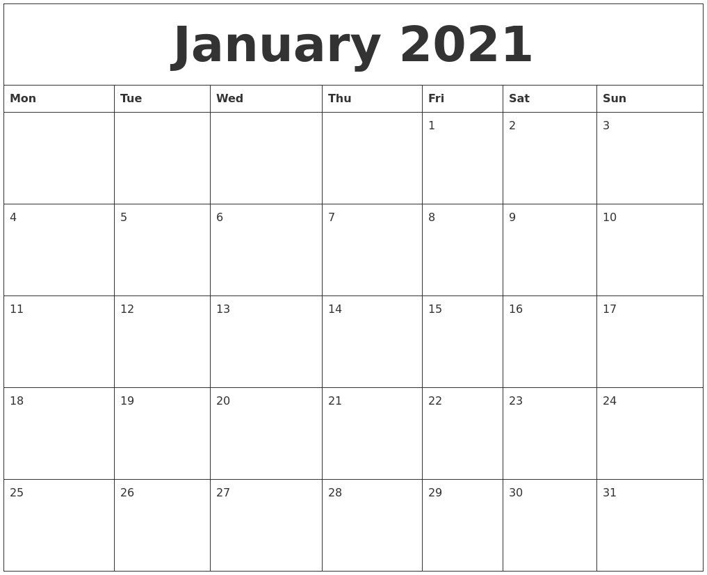 January 2021 Blank Monthly Calendar Template-Printable Blank Monthly Calendar Template