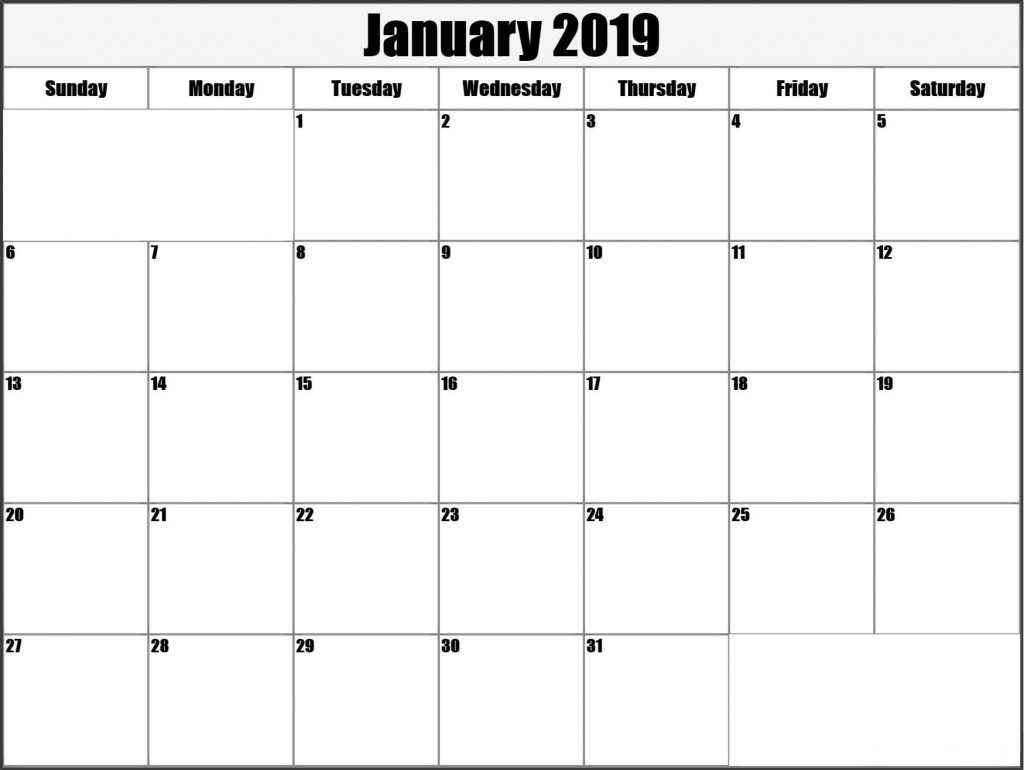 January Blank Calendar 2019 Printable Template Free April-Blank Month Caledar Uk