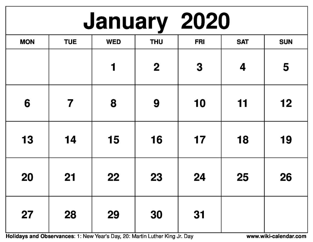 January Calendar 2020 Printable-January 2020 Calendar Tithi