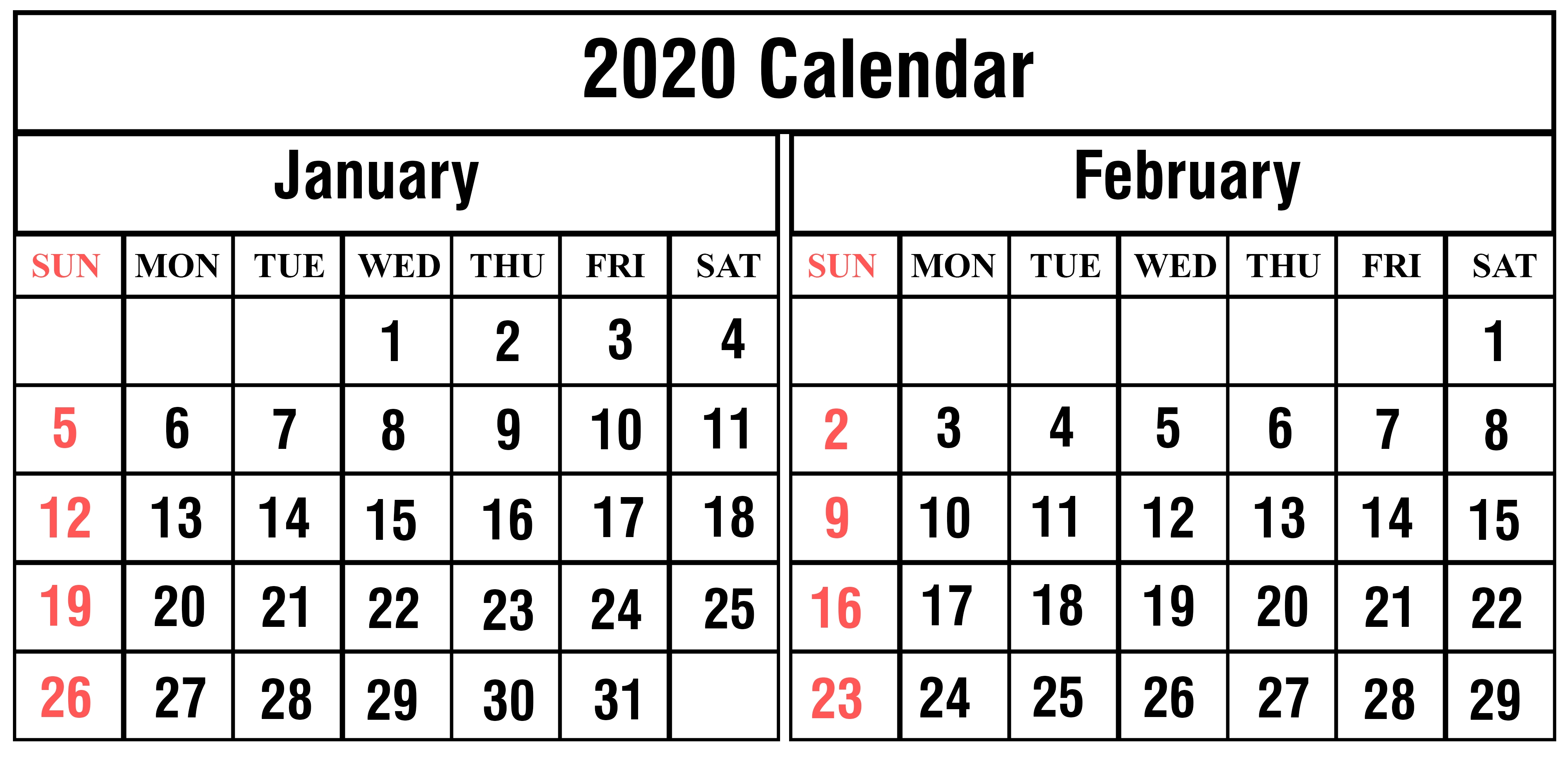 January February 2020 Calendar Printable Template Pdf Word-January And Feb 2020 Calendar