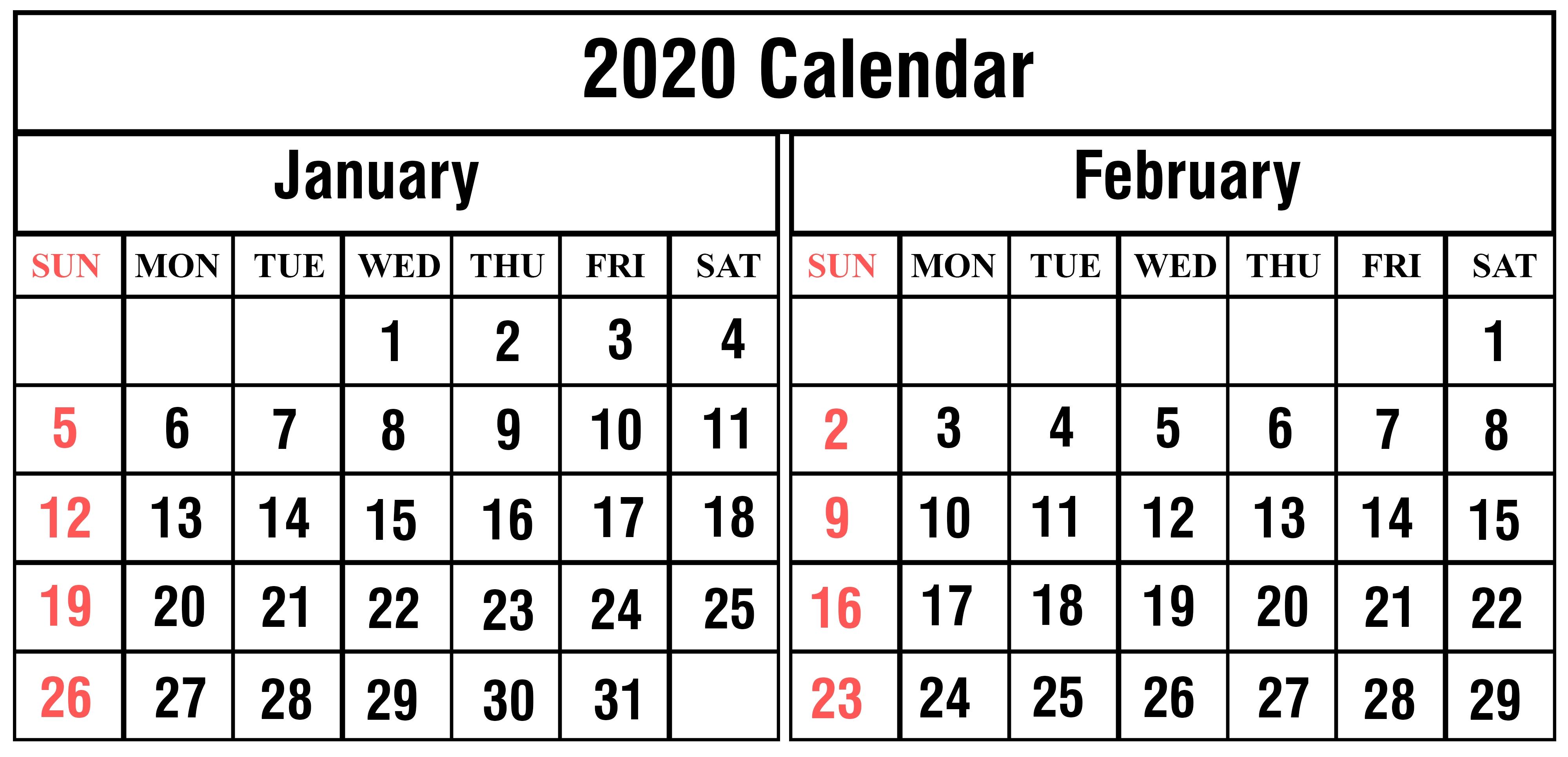 January February 2020 Calendar Printable Template Pdf Word-January And February 2020 Printable Calendar