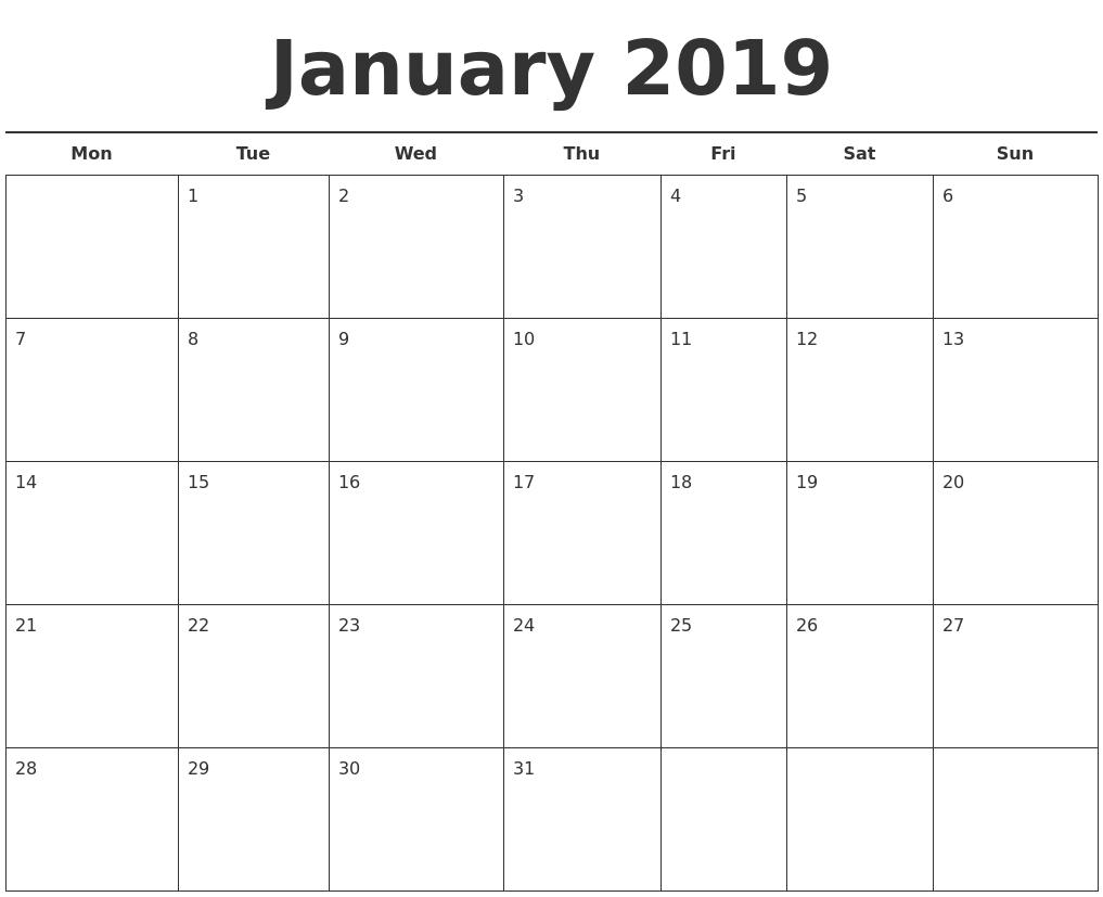January Month Calendar 2019 Printable Template | 25 Best-Blank Month Calendar Page