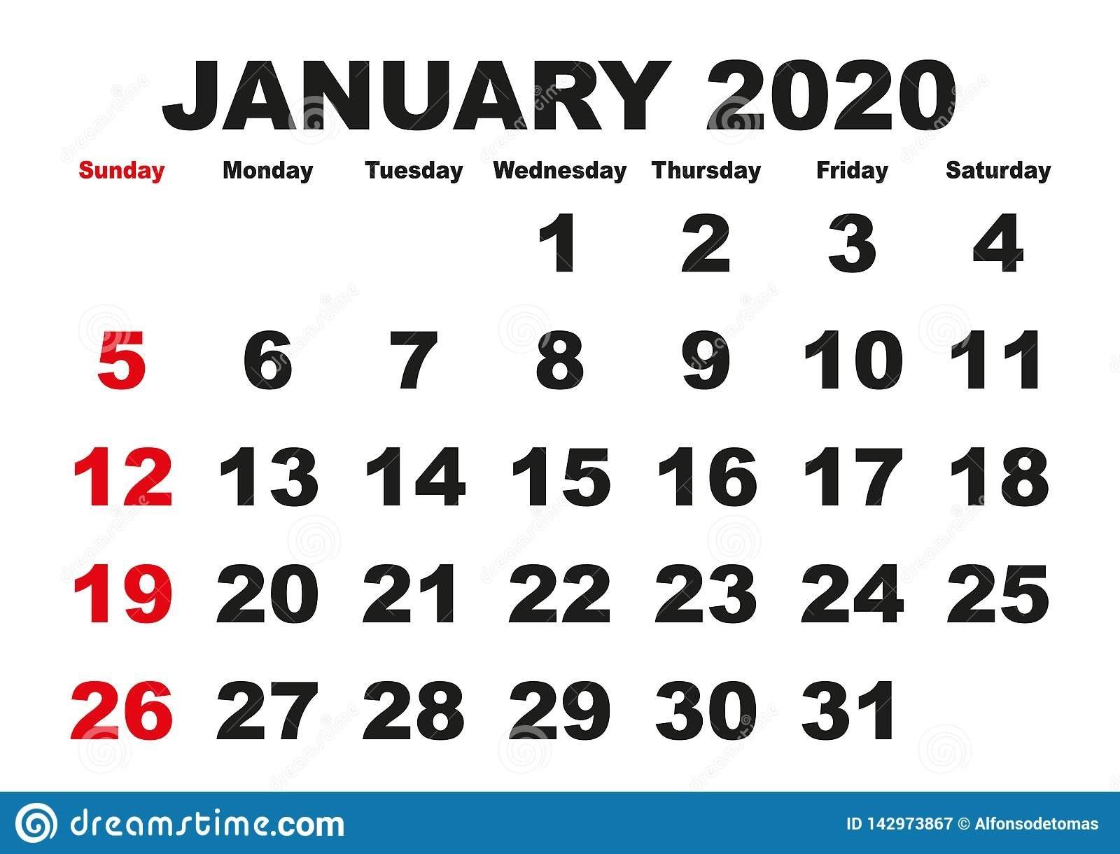 January Month Calendar 2020 English Usa Stock Vector-January 2020 Calendar Japan