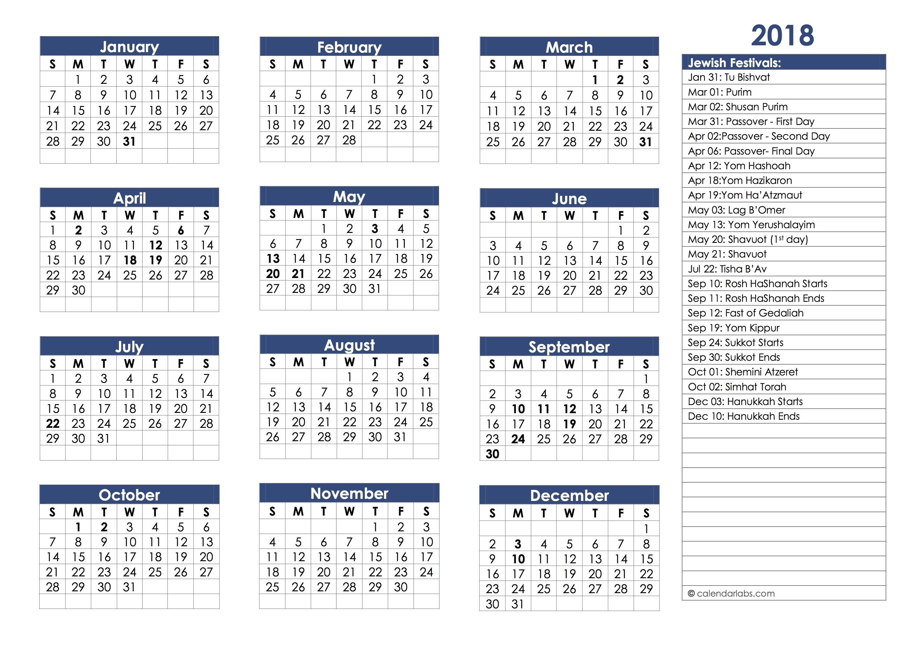 Jewish Holidays Calendar 2018 – Hebrew Calendar Festivals-Calendar Of Jewish Holidays