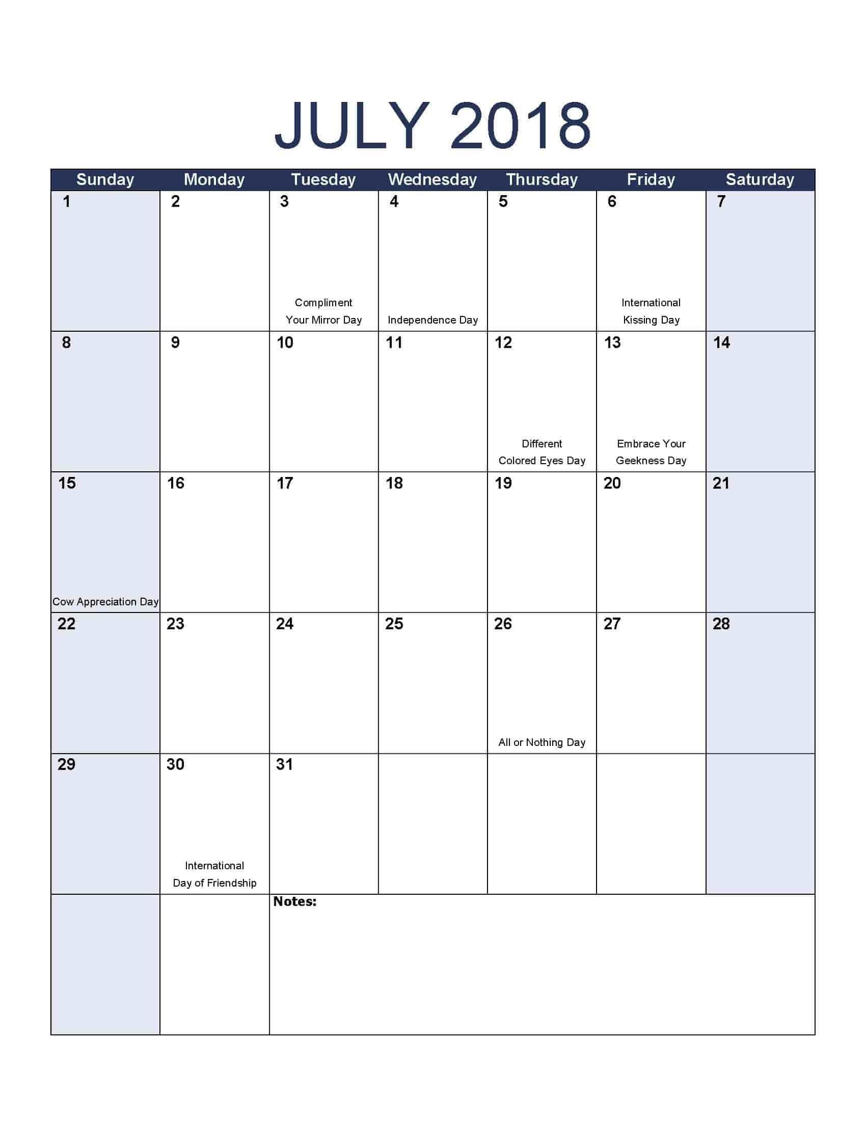 July 2018 Calendar - Free, Printable Calendar Templates-Printable Calendar With Jewish Holidays