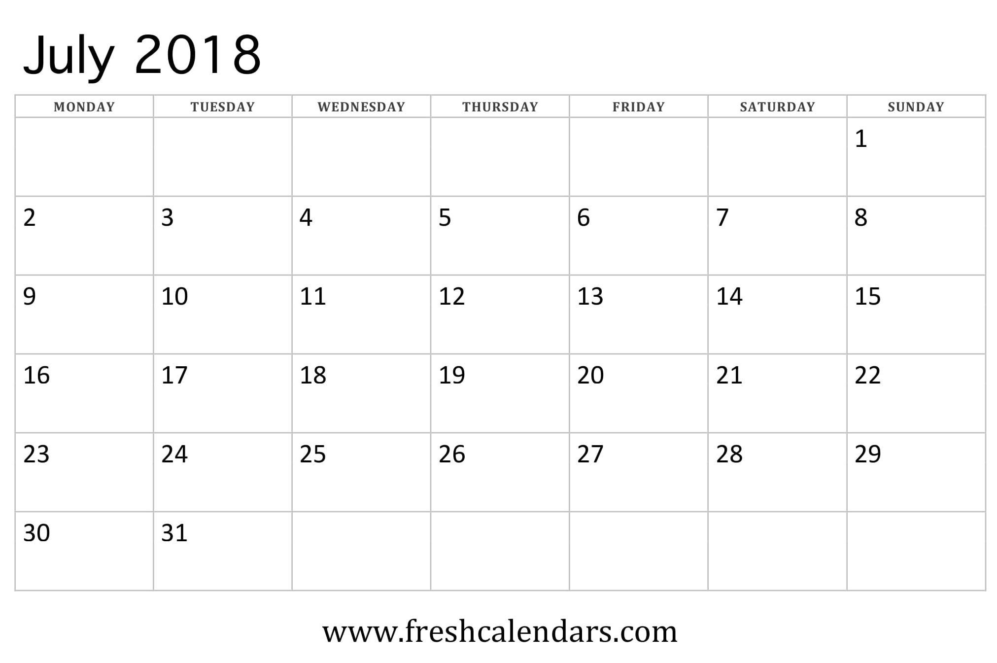 July 2018 Calendar Printable - Fresh Calendars-Monthly Calendar Starts On Monday