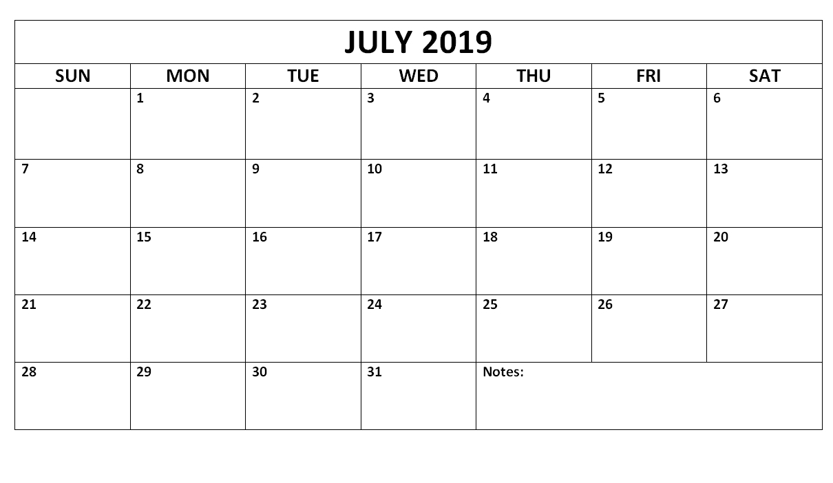 July 2019 Blank Calendar Waterproof | Free Printable July-January 2020 Calendar Waterproof