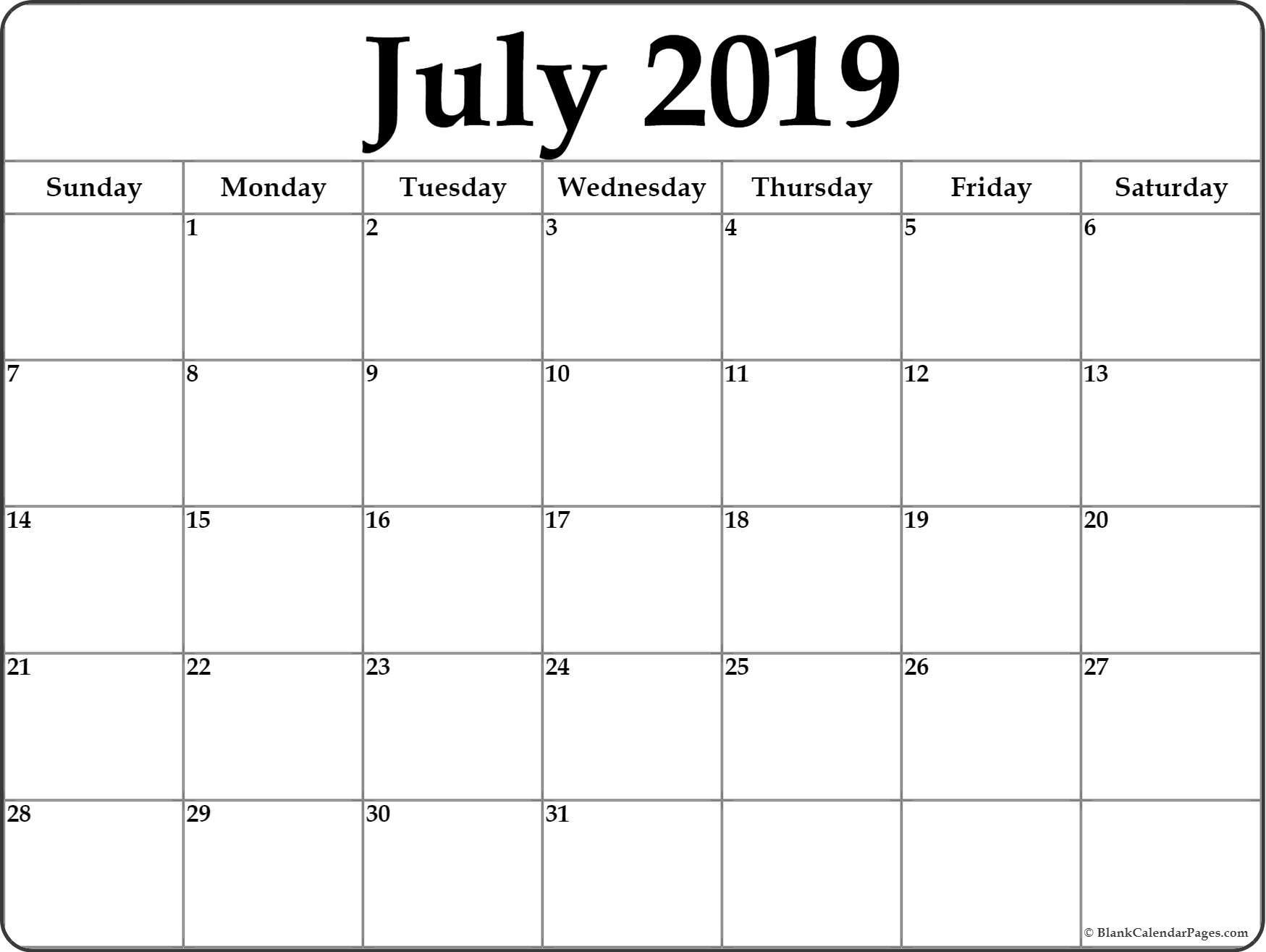 July 2019 Calendar | Free Printable Monthly Calendars-Printable Monthly Calendars For June And July
