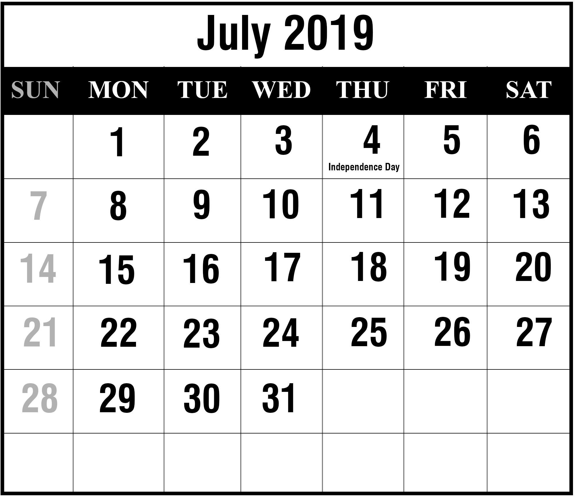 July 2019 Calendar Printable | July Blank Calendar Template-6 Month Calendar 2020 July Dec Template